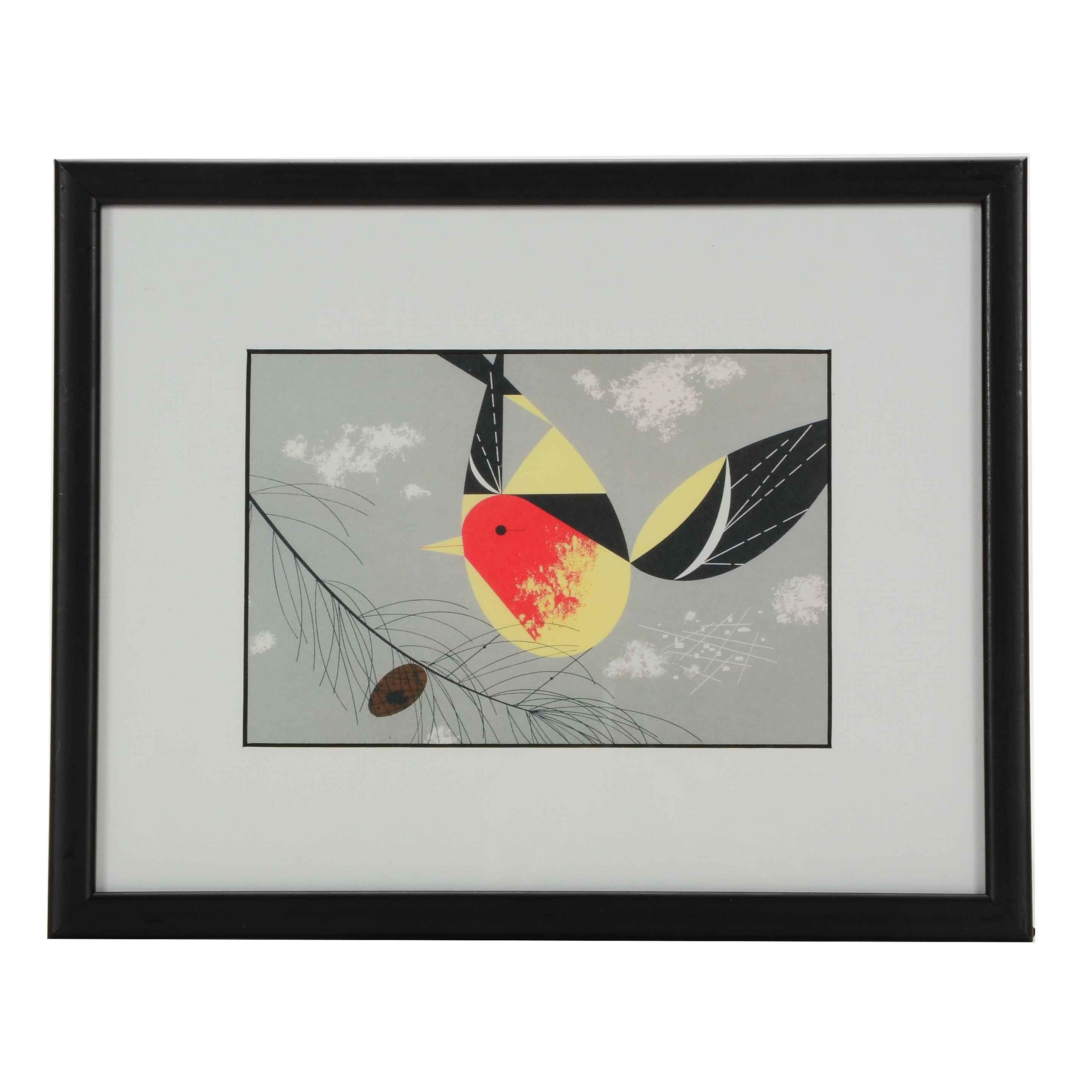 """Offset Lithograph Print after Charley Harper """"Western Tanager"""""""