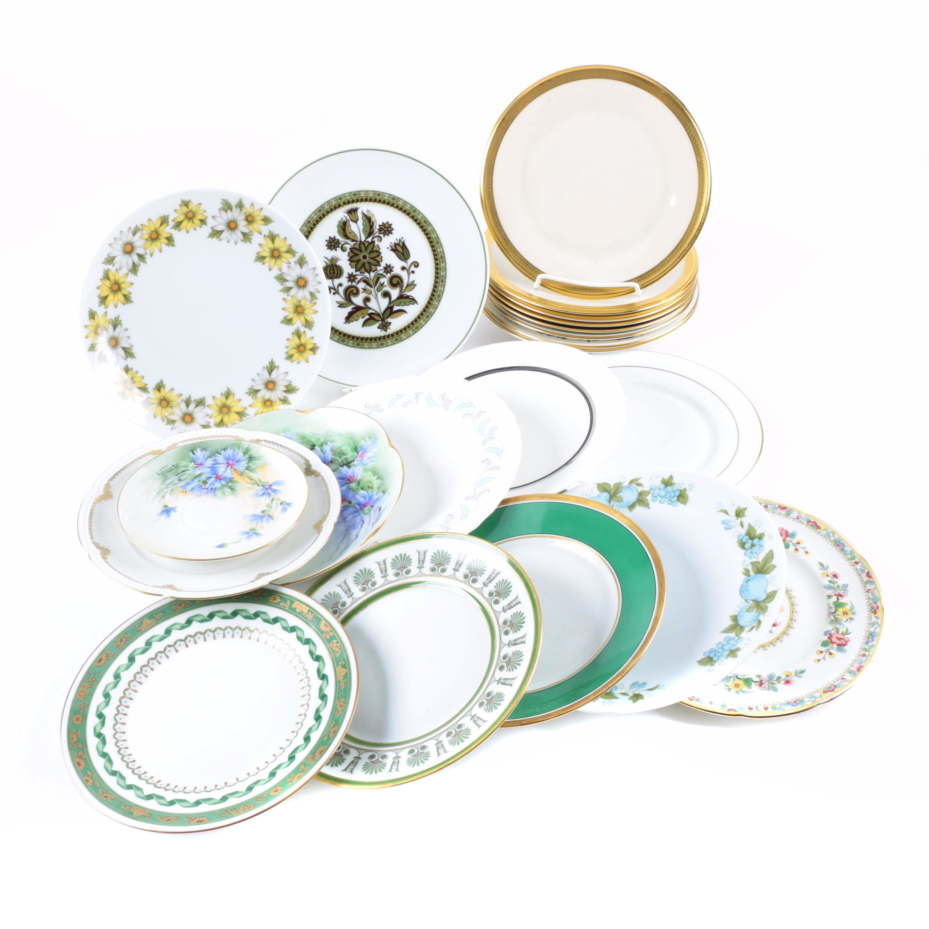 Porcelain Plates Including Wedgwood and Royal Crown Derby