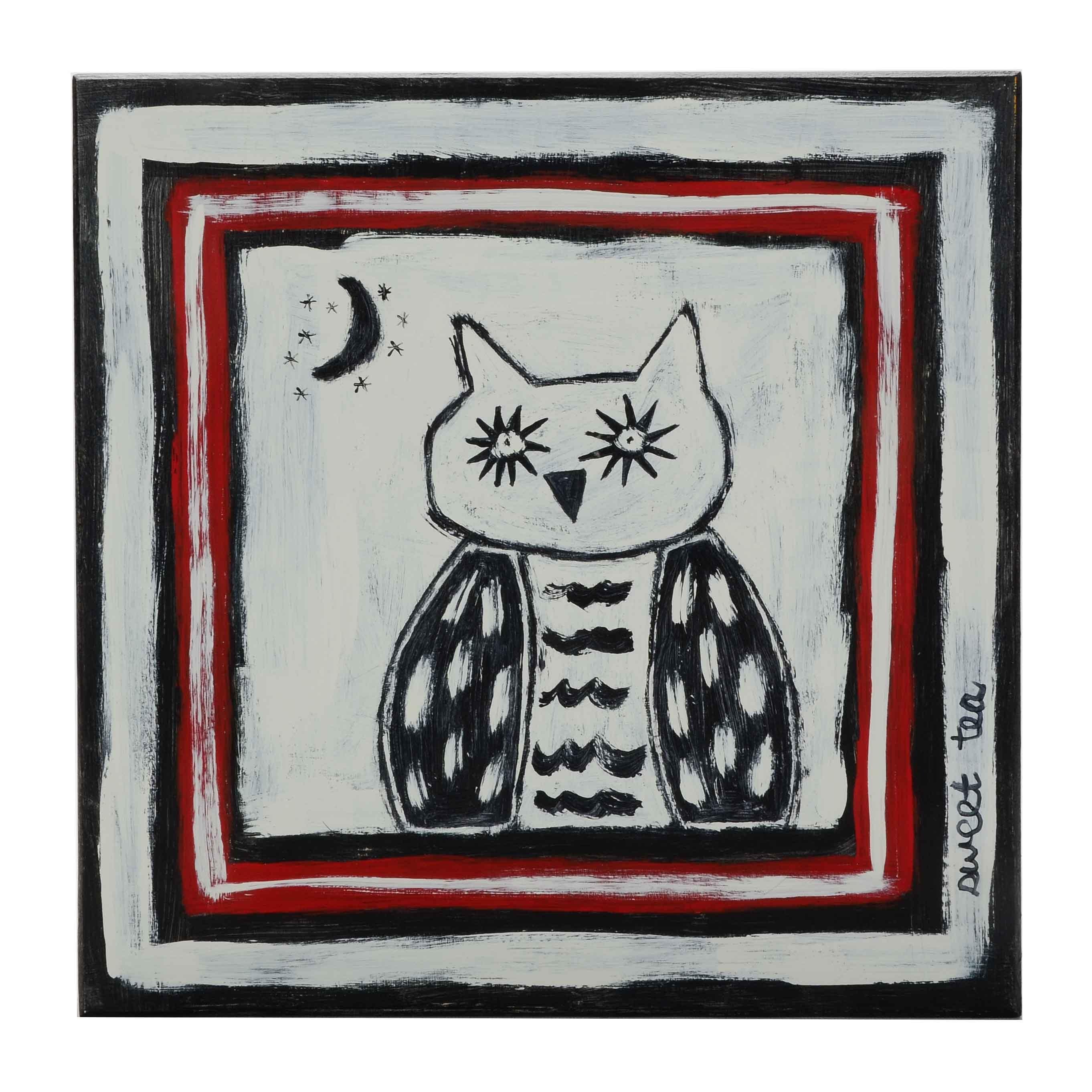 Sweet Tea Signed Original Acrylic Painting of an Owl