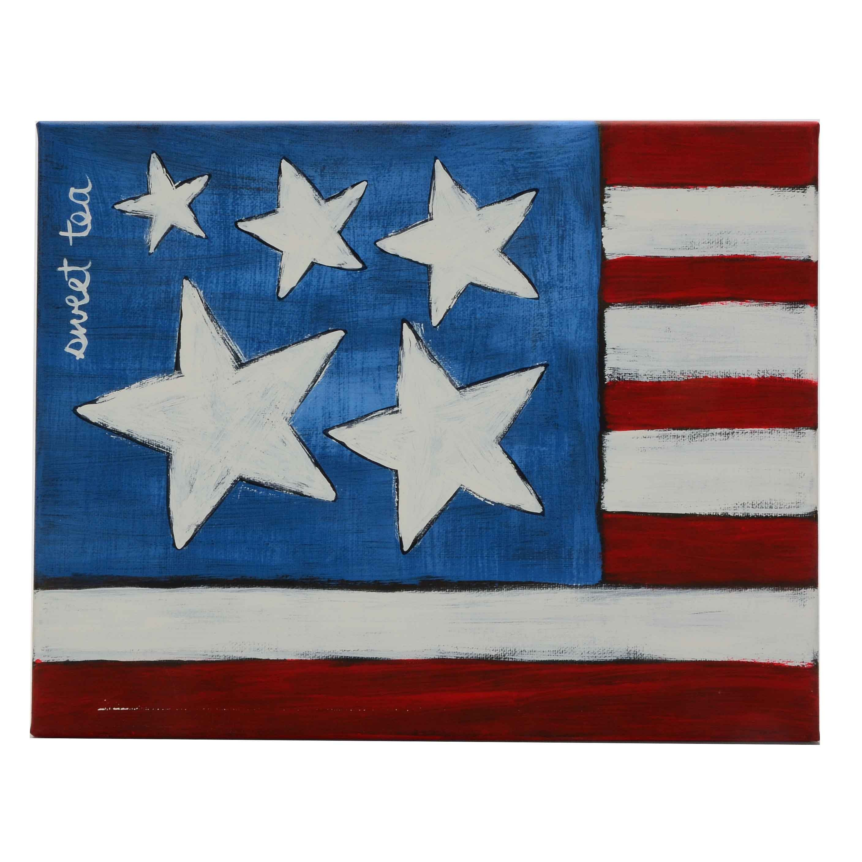 Sweet Tea Signed Original Acrylic Painting of an American Flag