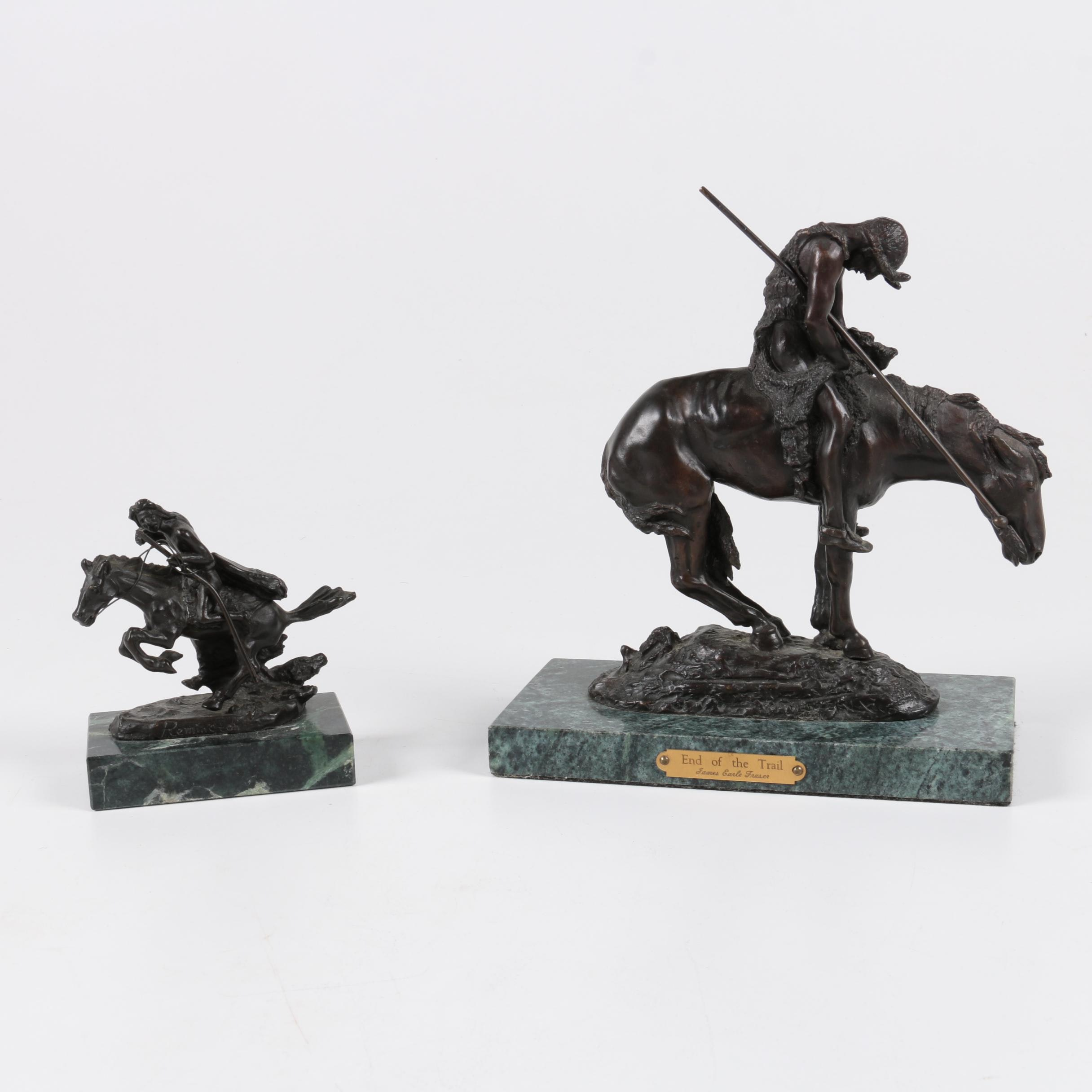 American West Themed Bronze Figures Including After Remington