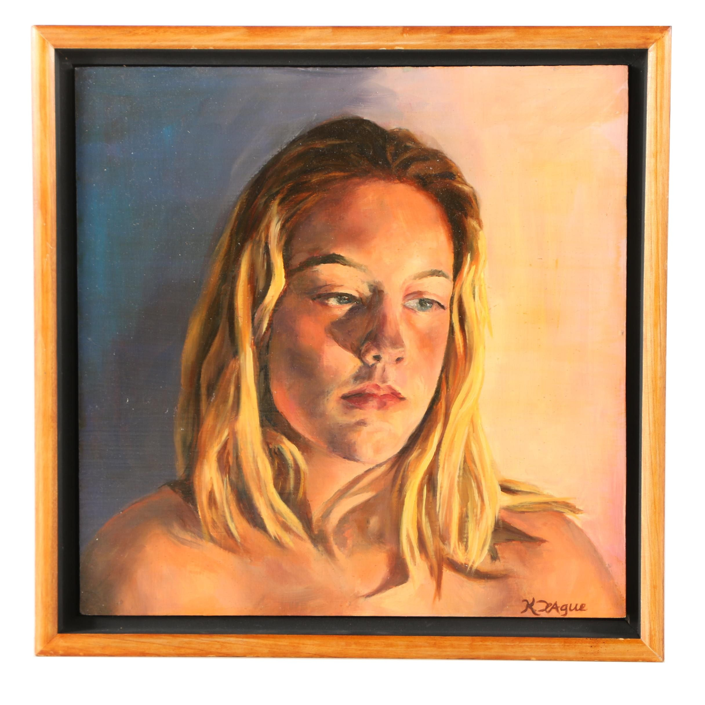 """Kristina Teague Oil Painting of a Woman """"Rebecca"""""""