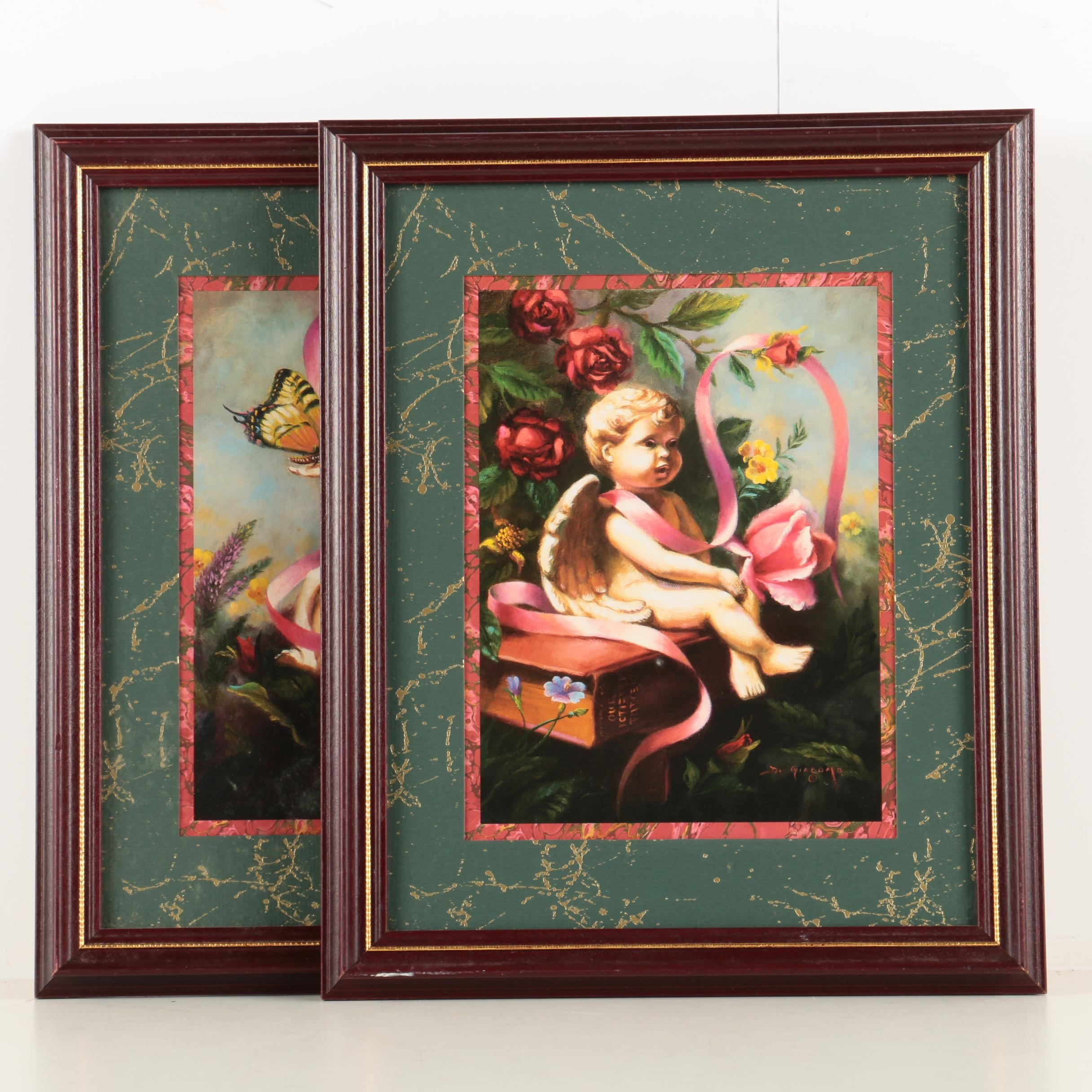 A Pair of Offset Lithograph Prints After D. Giacomo Paintings of Cherubs