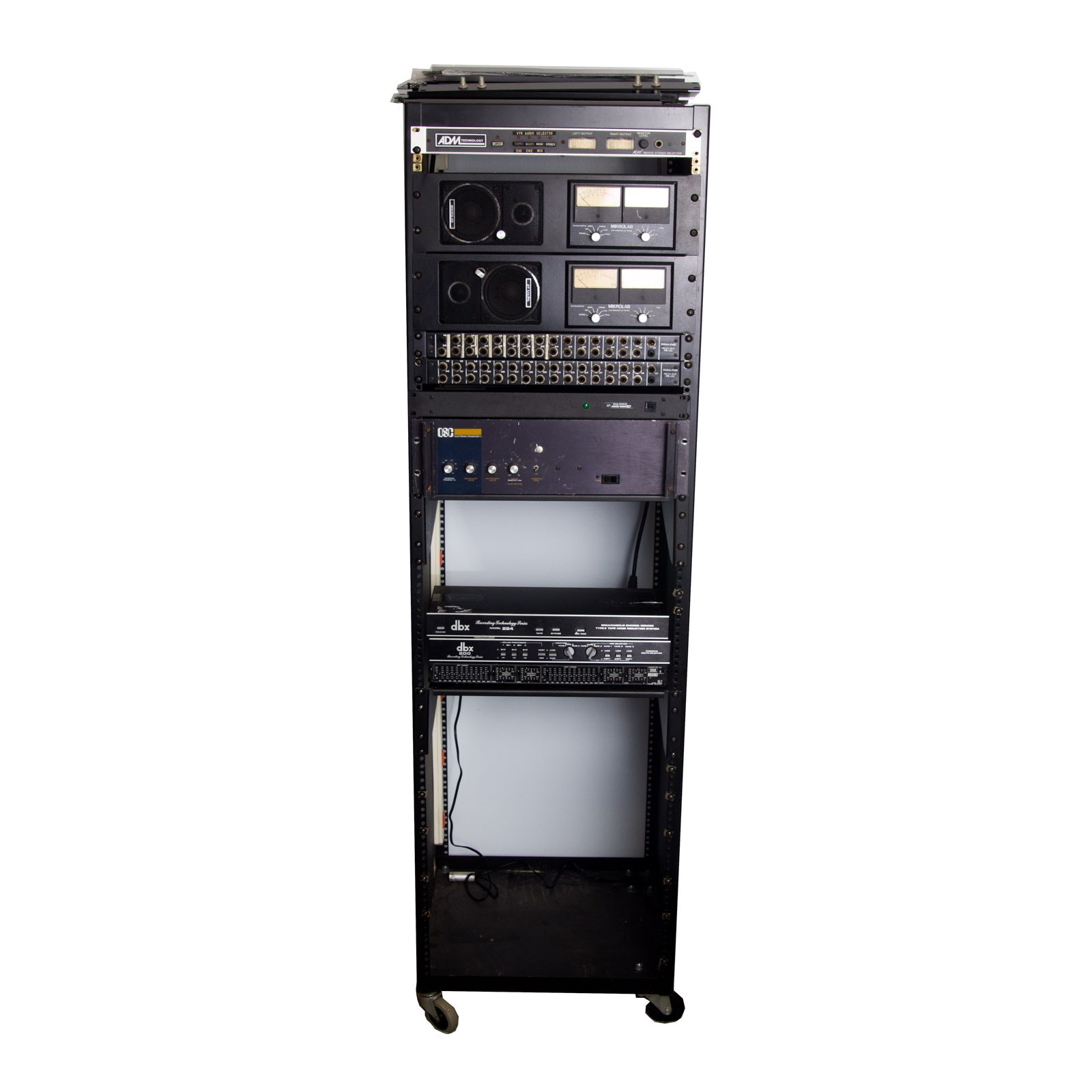 Audio Rack System With Assorted Recording Equipment