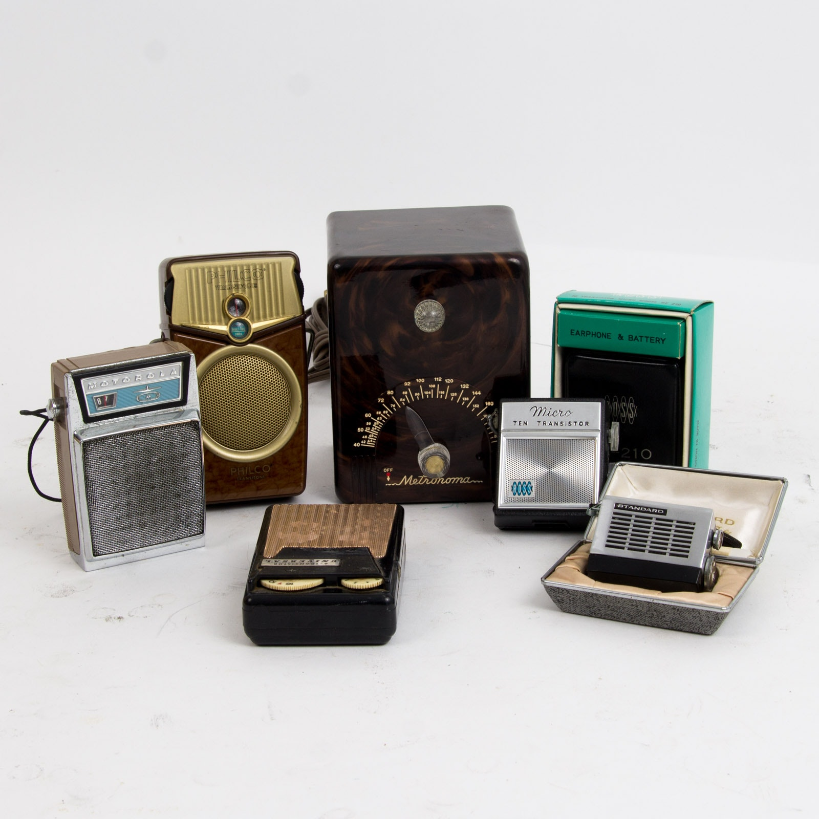 Variety of Five Vintage Transistor Radios and Crystalab Metronoma