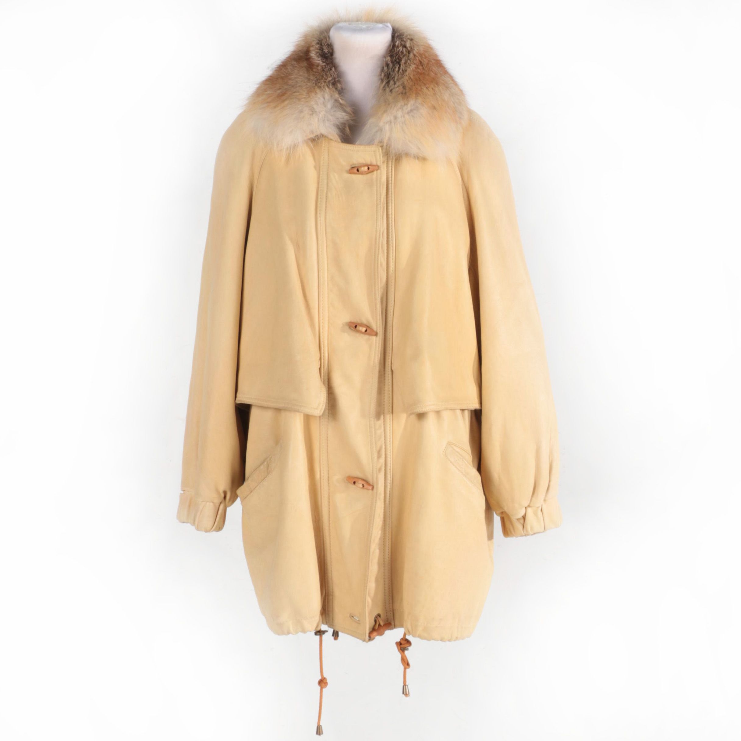 Leather Coat with Fox Fur by Damselle LTD
