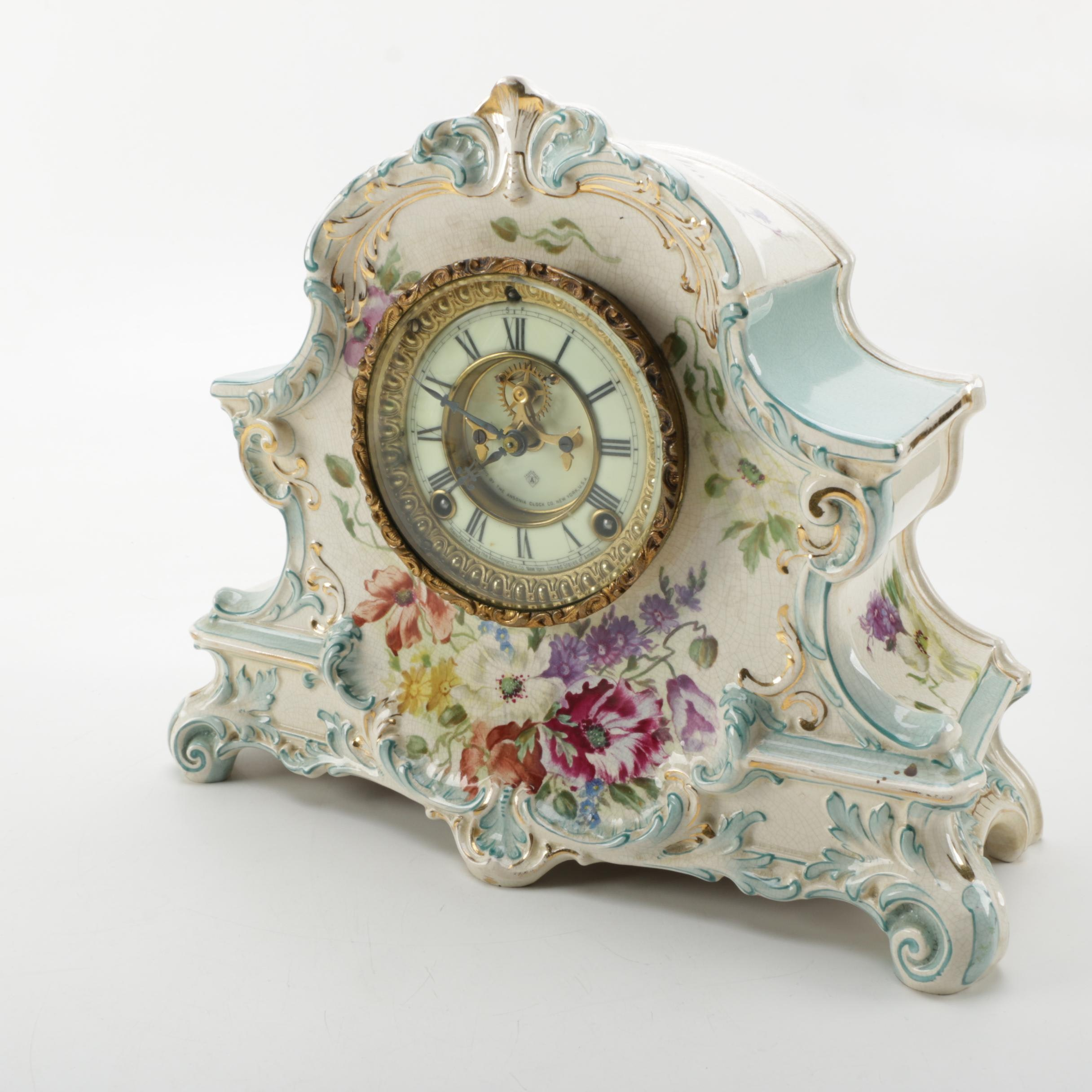 Ansonia Mantel Clock with a Royal Bonn Case