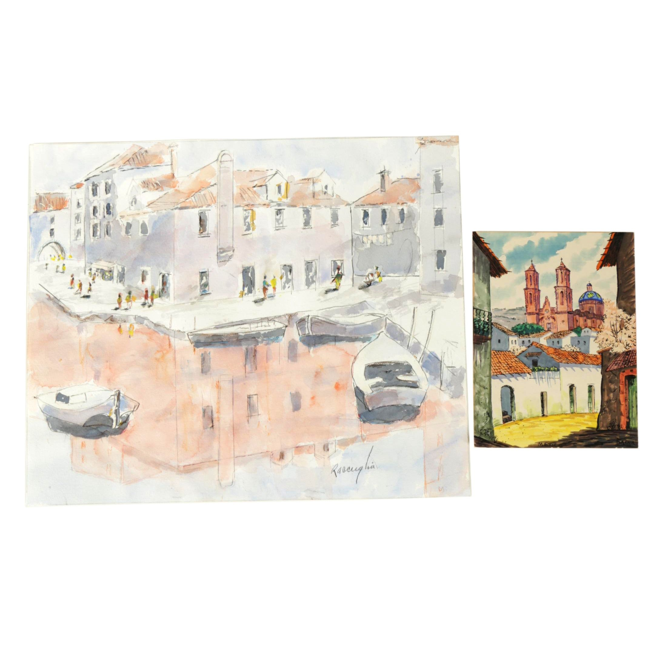 Hand Colored Serigraph Print and Watercolor Painting of Cityscapes