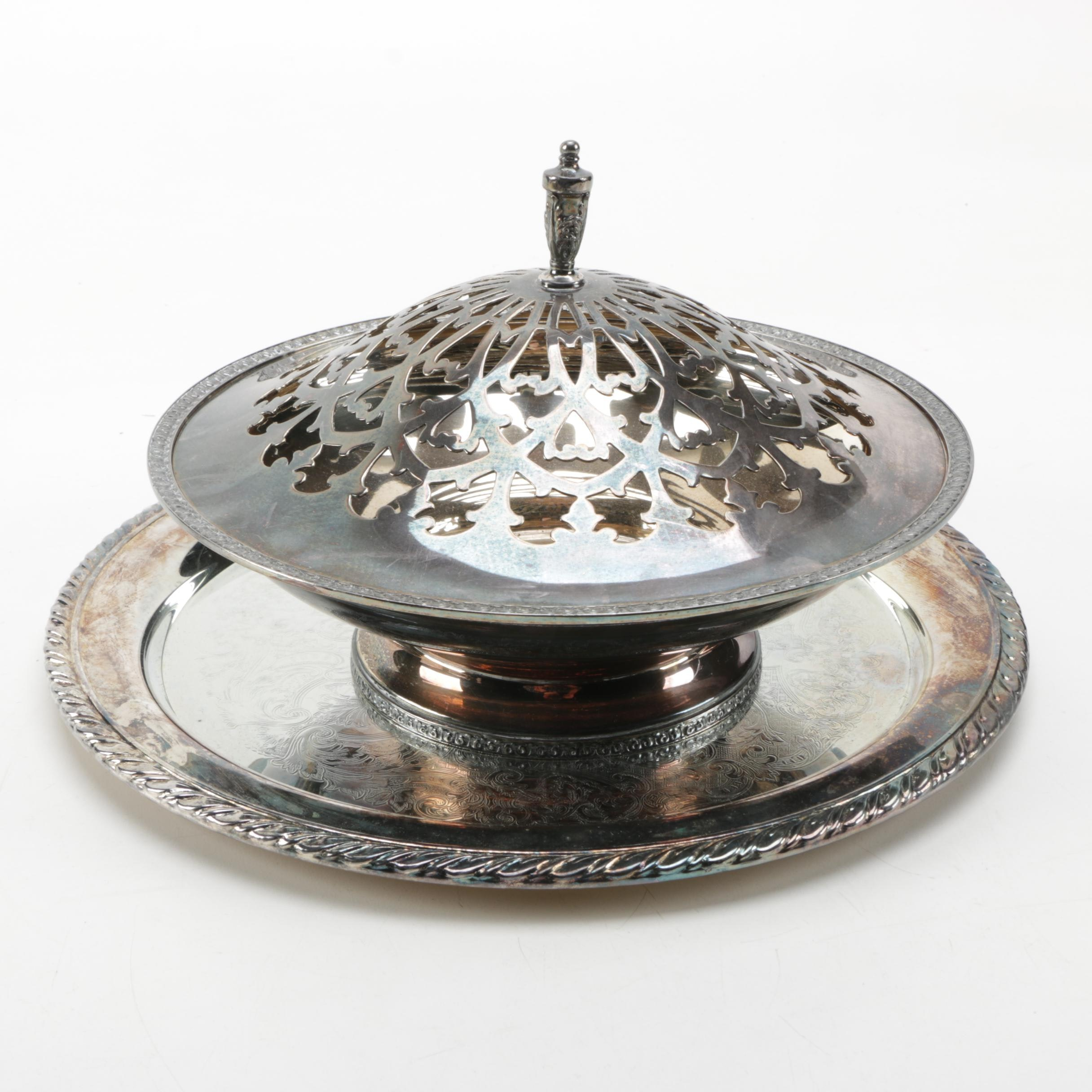 Wallace-Wallingford Co. Silver Plate Centerpiece Bowl with Oneida Serving Tray