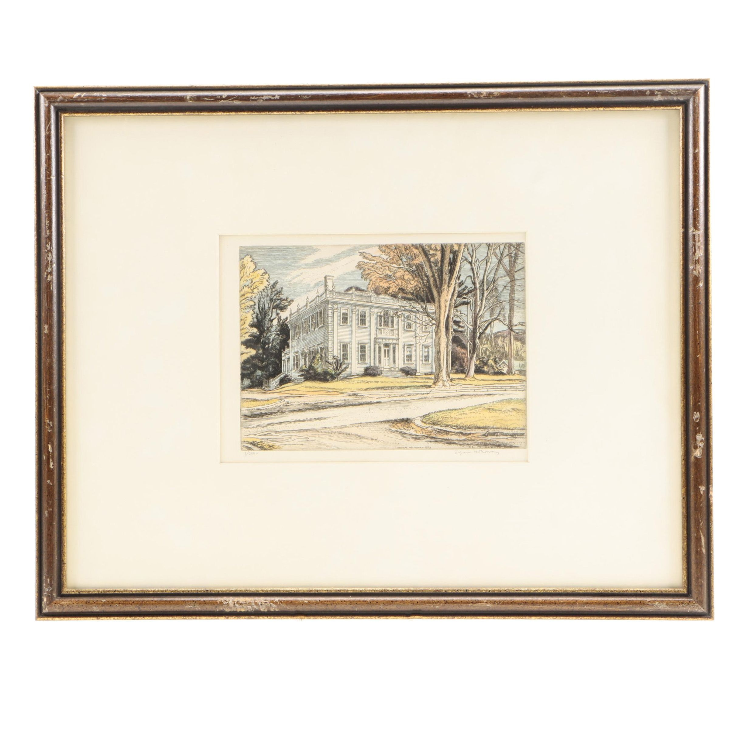 Edgar Holloway Limited Edition Hand Colored Etching