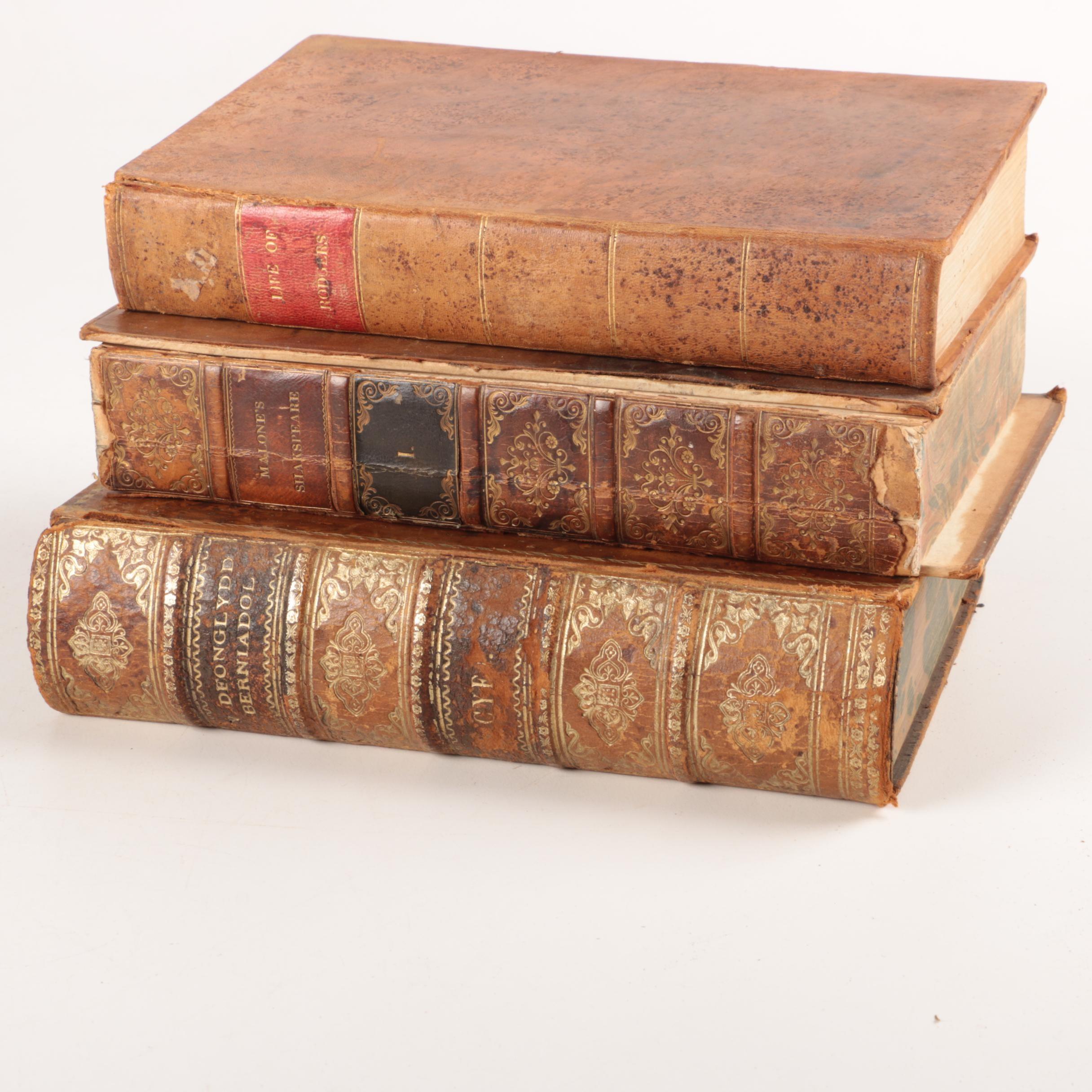 Three Leather Bound Antique Books