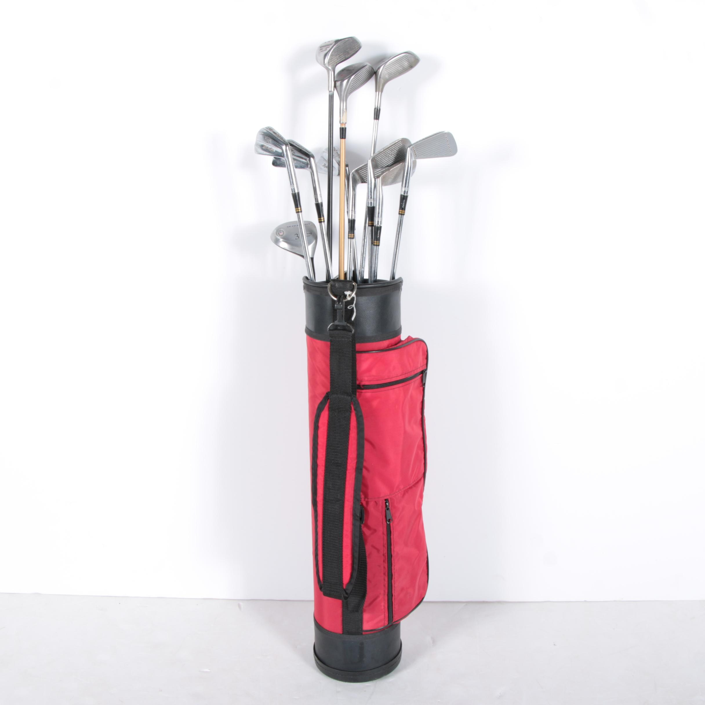 Assorted Golf Clubs with Children's Golf Bag
