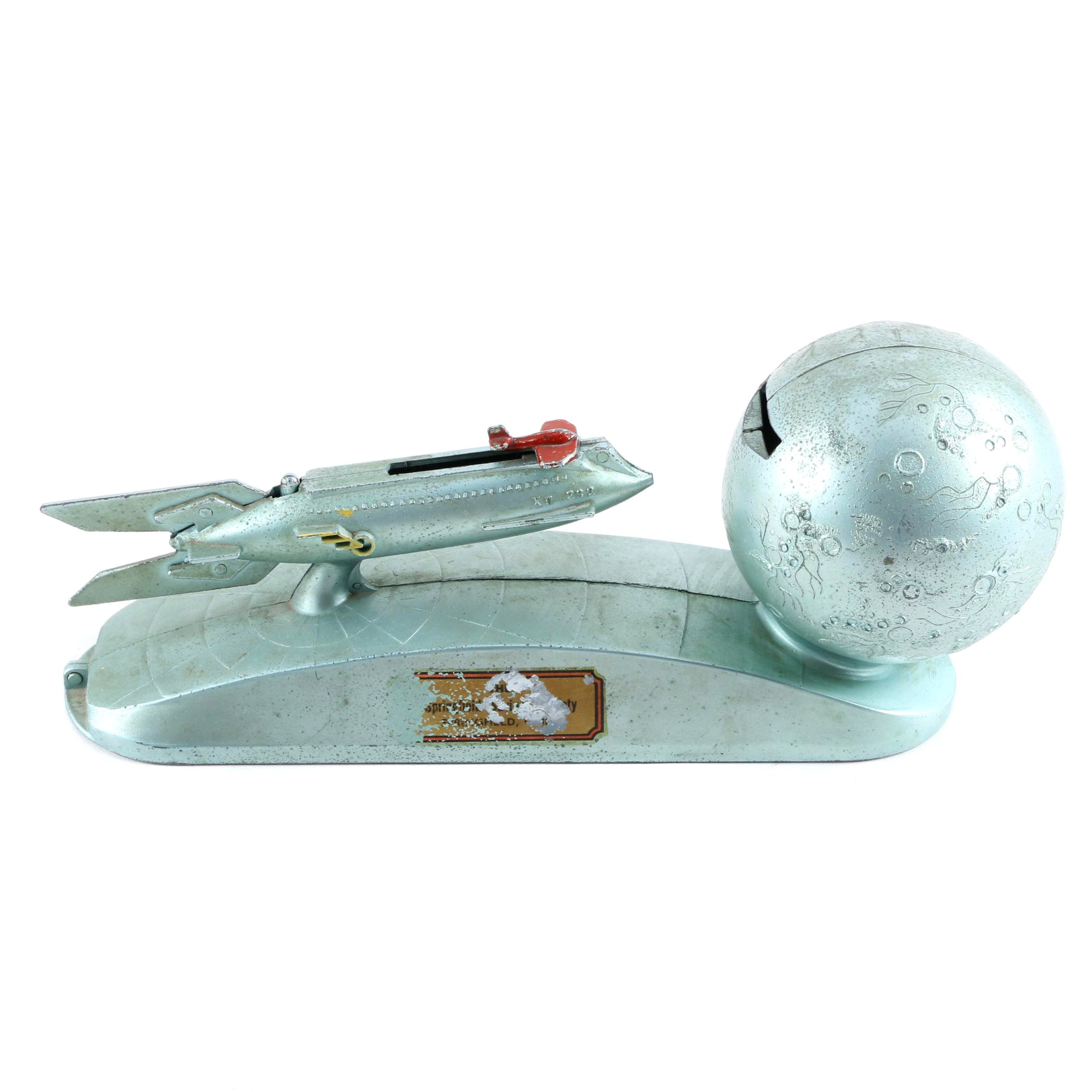 Vintage Strato Rocket and Moon Metal Mechanical Coin Bank