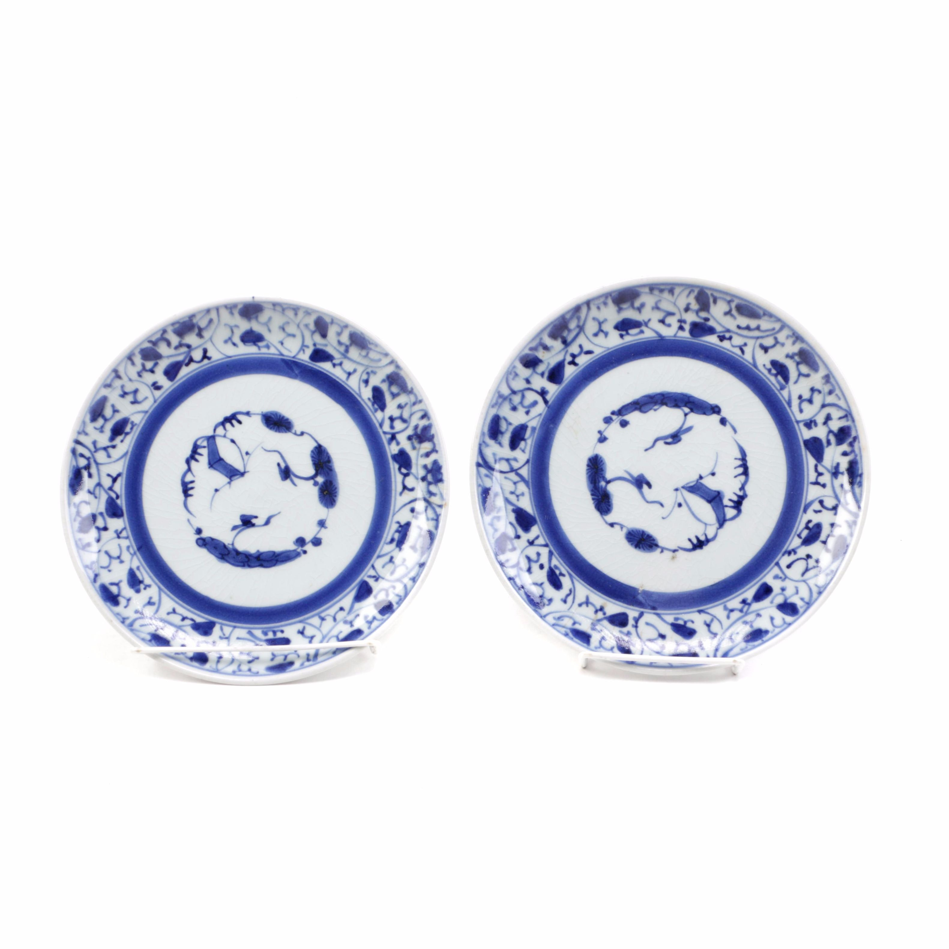 Circa 1750 Japanese Imari Plates in Blue and White