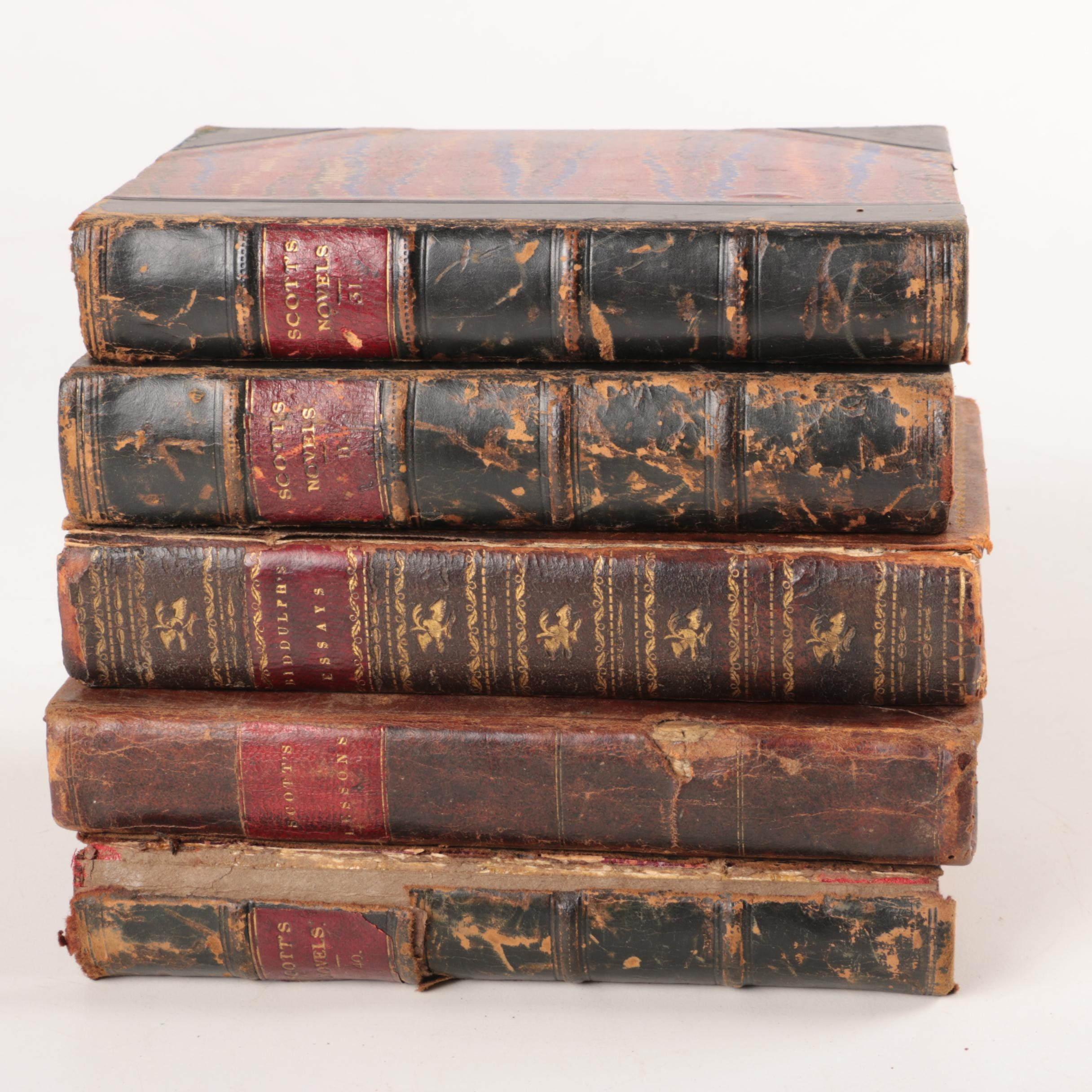Antique Leather and Marbled Paper on Board Bound Books