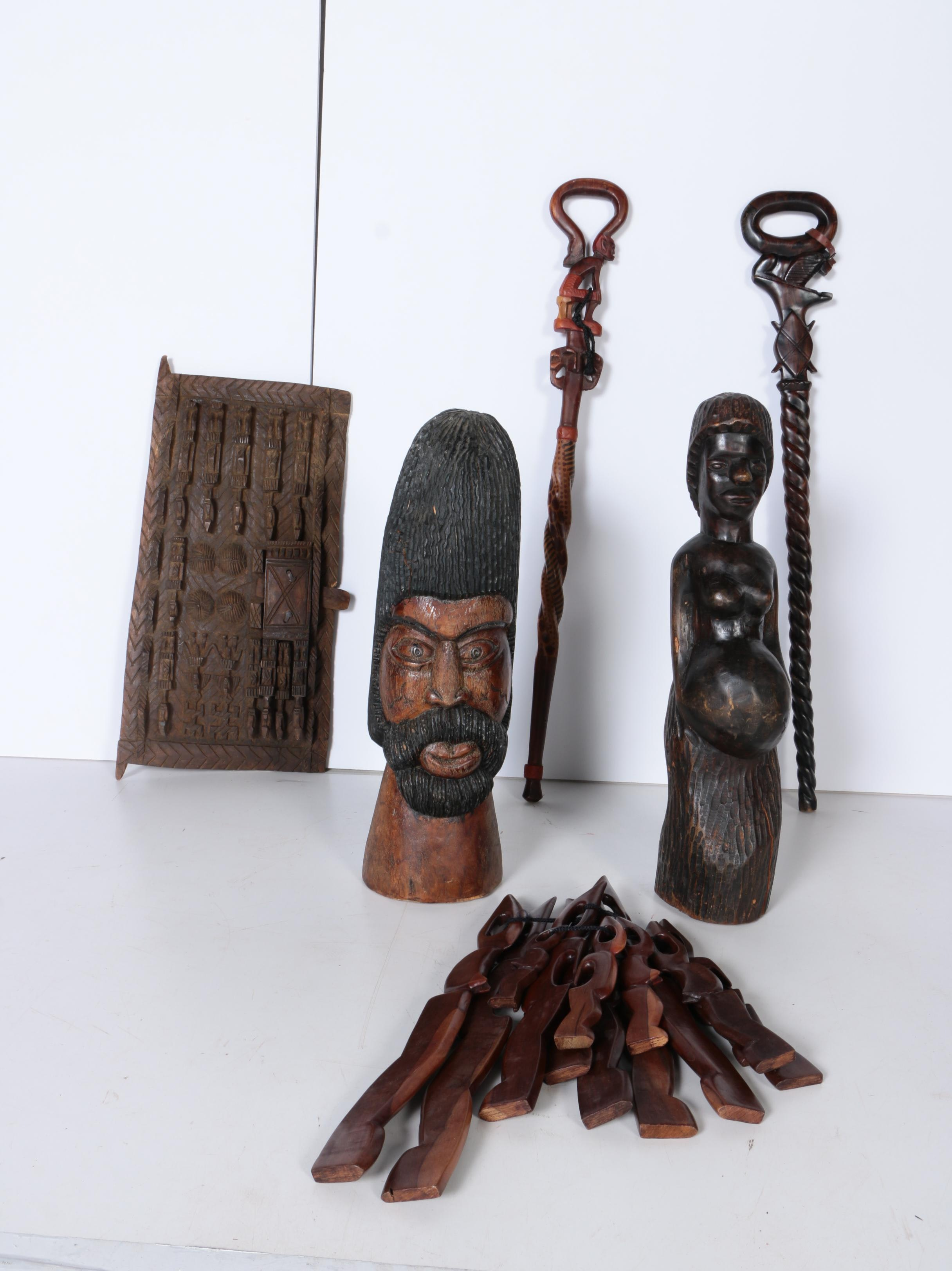 Carved Wood Sculptures, Figurines, Kenyan Style Staffs and Plaque