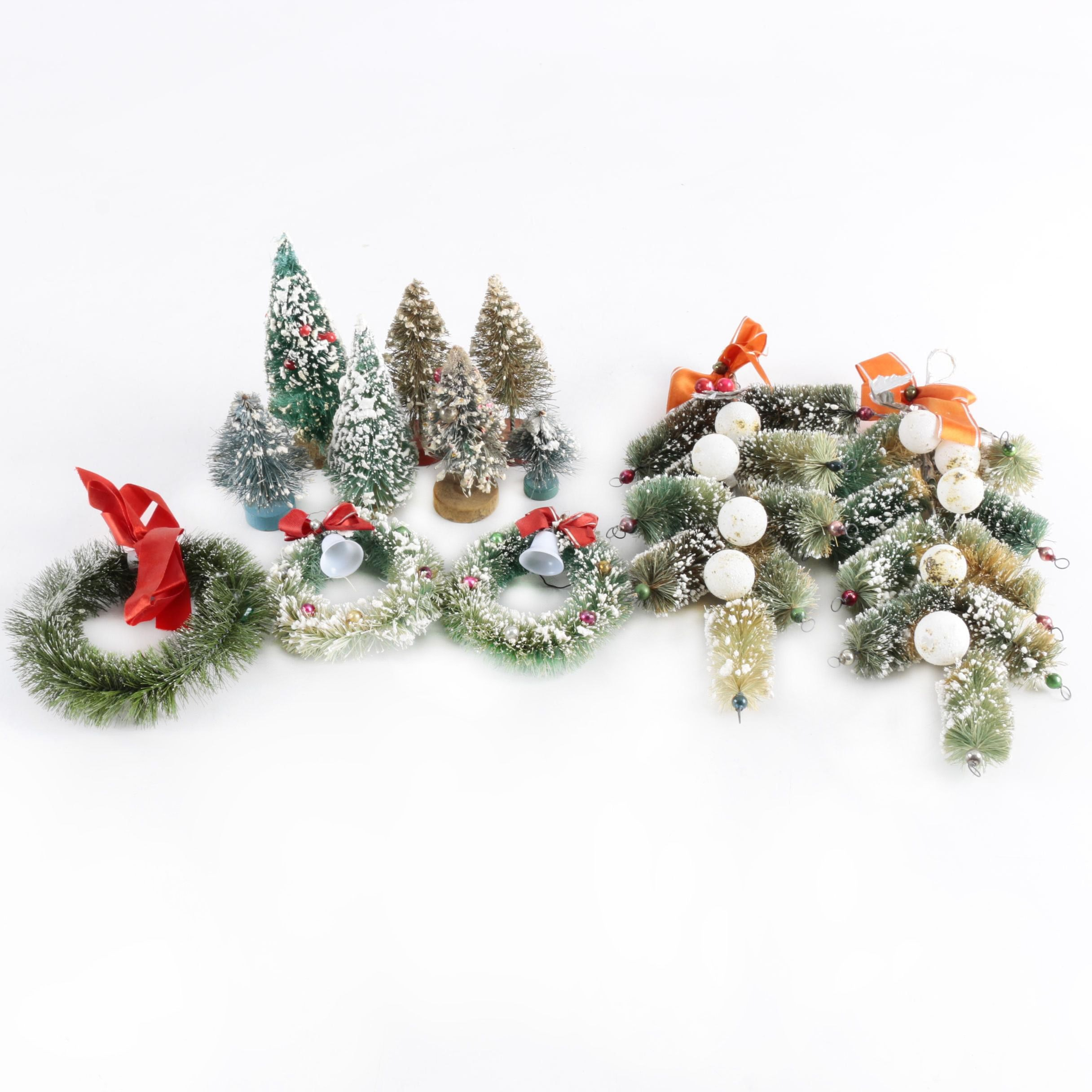 Assortment of Small Vintage Christmas Trees and Décor