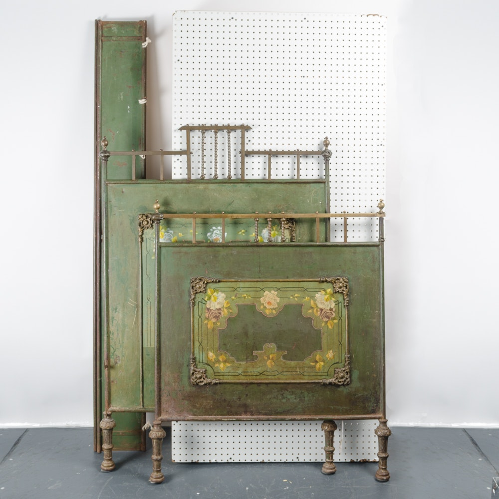 French Late 19th Century Painted Iron and Brass Bed