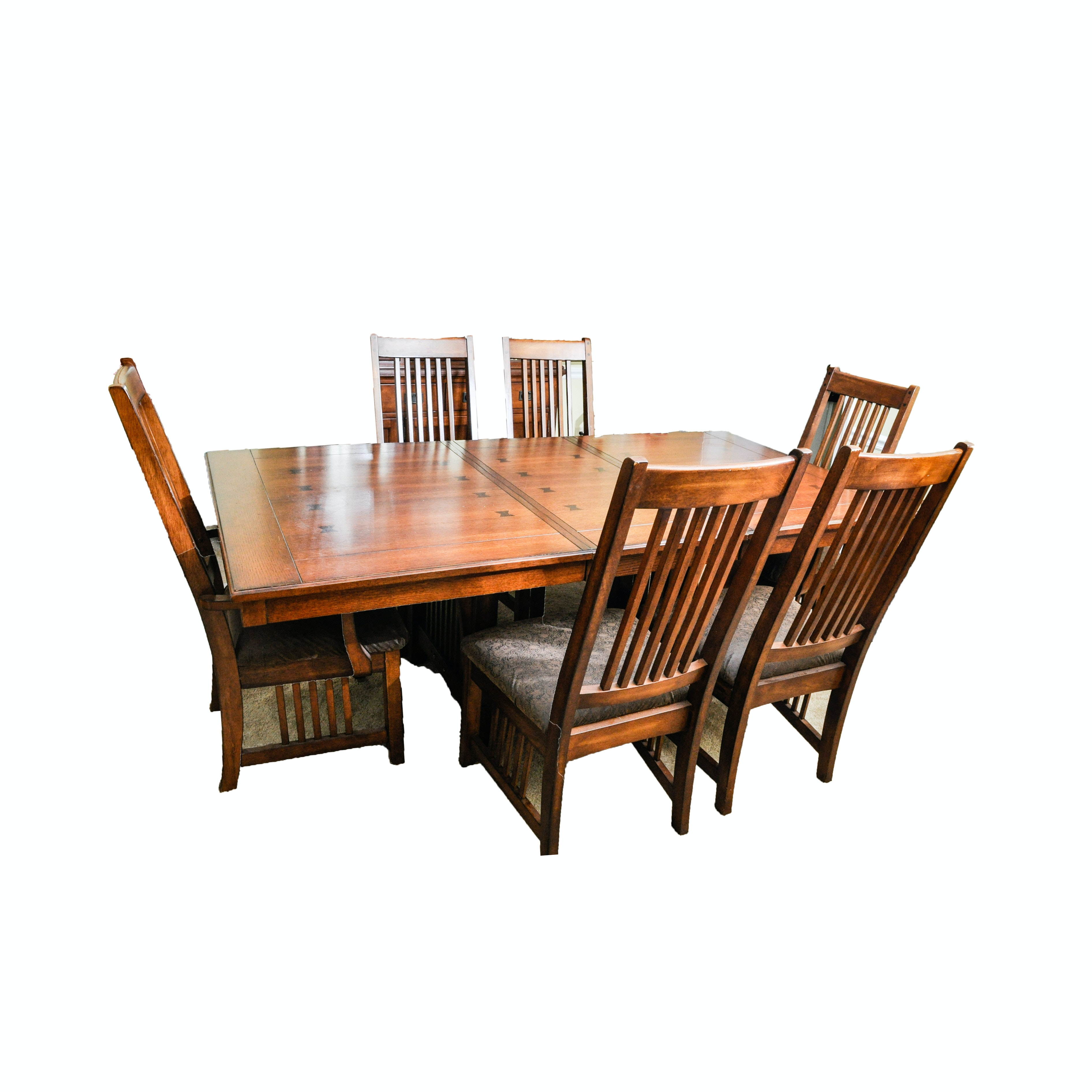 Arts-and-Crafts Style Dining Table and Six Chairs