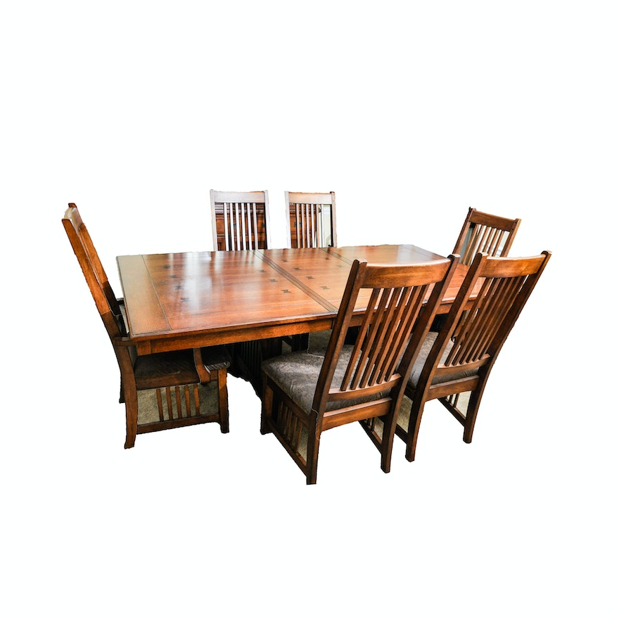 Arts and crafts style dining table and six chairs ebth for Arts and crafts style table
