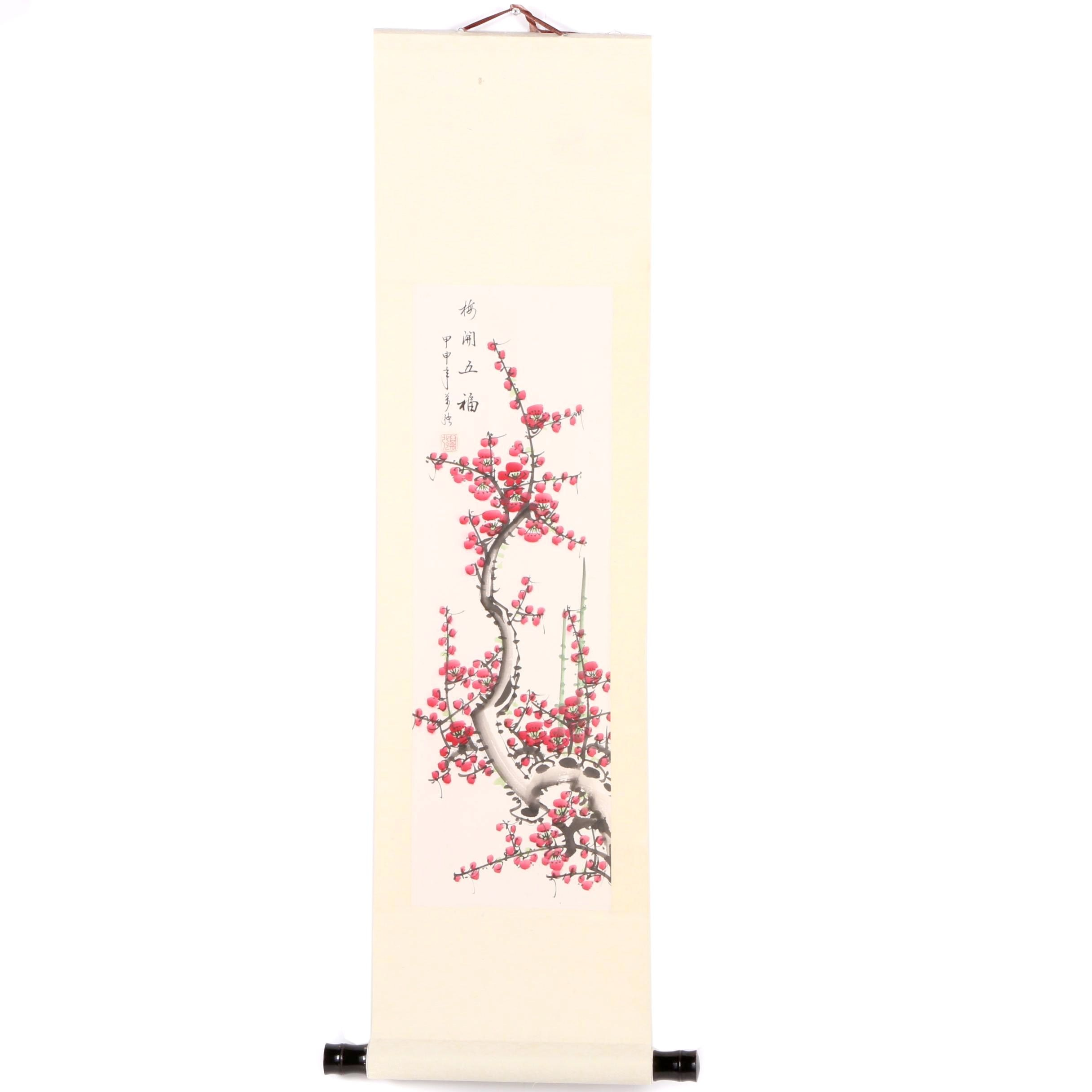 Japanese Ink and Watercolor Hanging Scroll with Plum Blossoms
