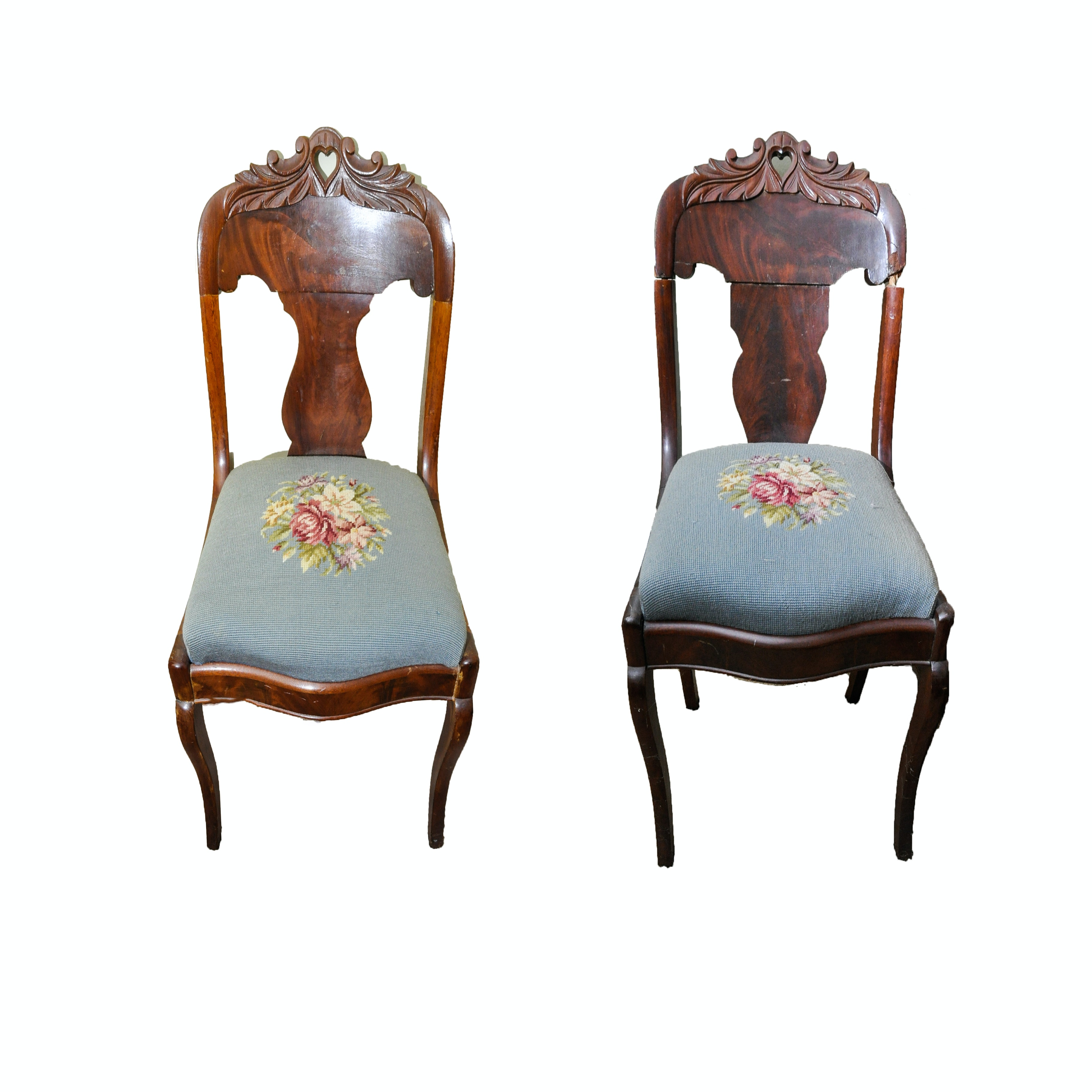 Pair Of Vintage Victorian Style Side Chairs