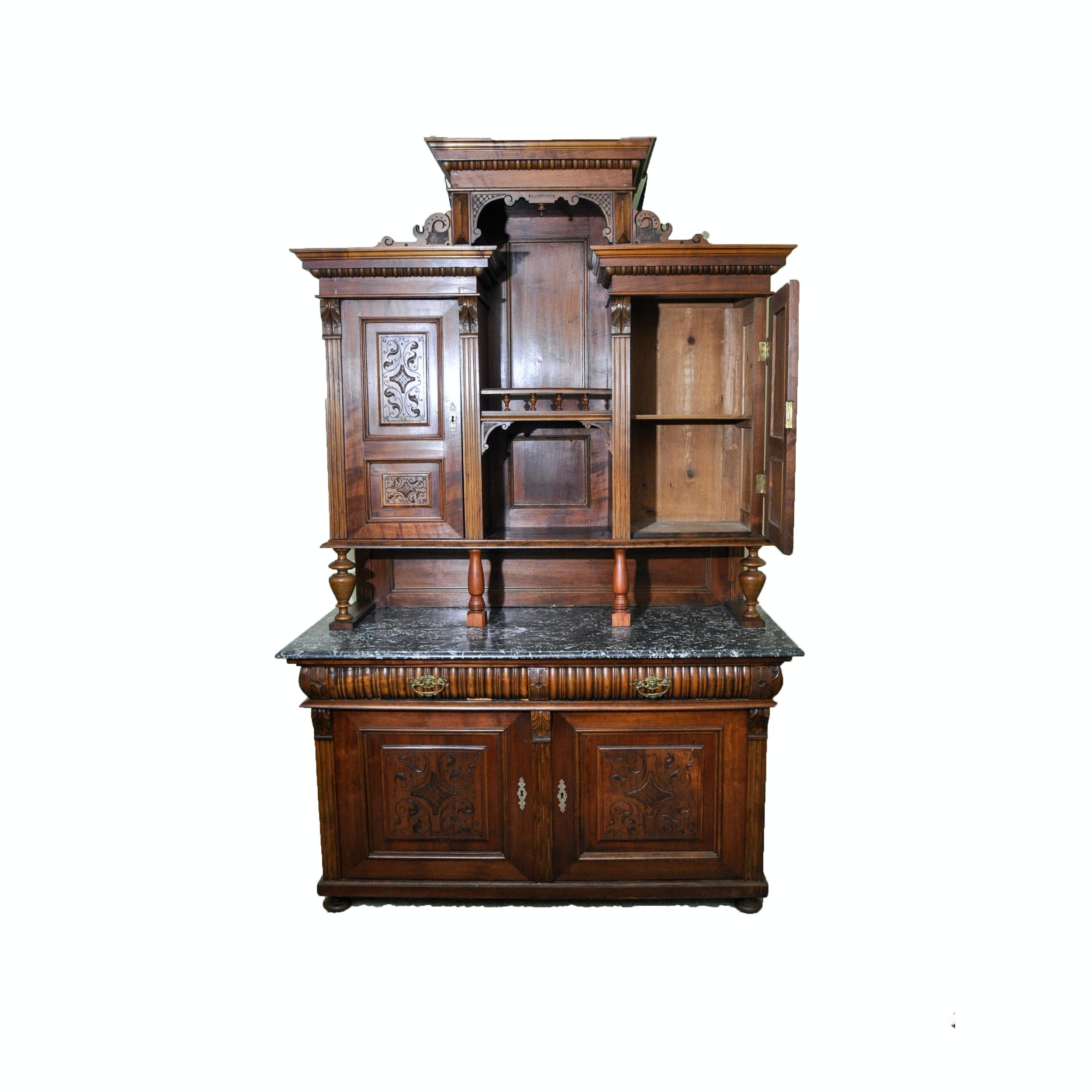 Victorian Eastlake Walnut European Sideboard with Hutch