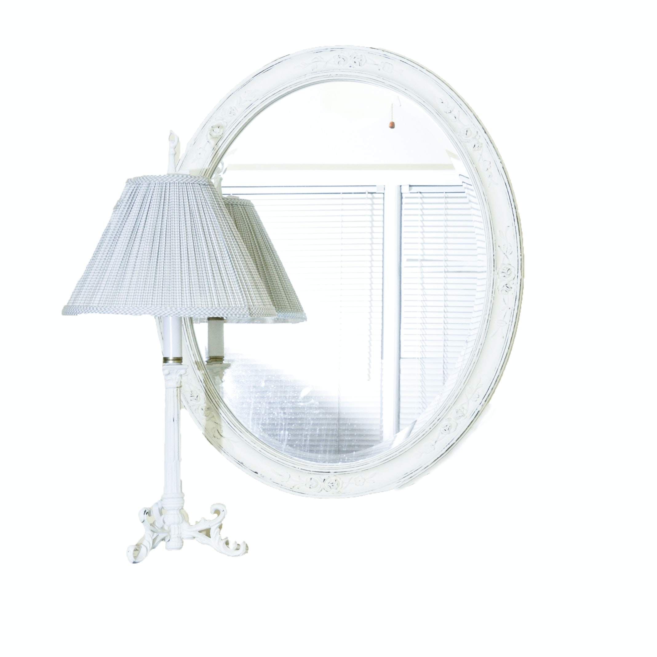 French Provincial Style Mirror and Table Lamp