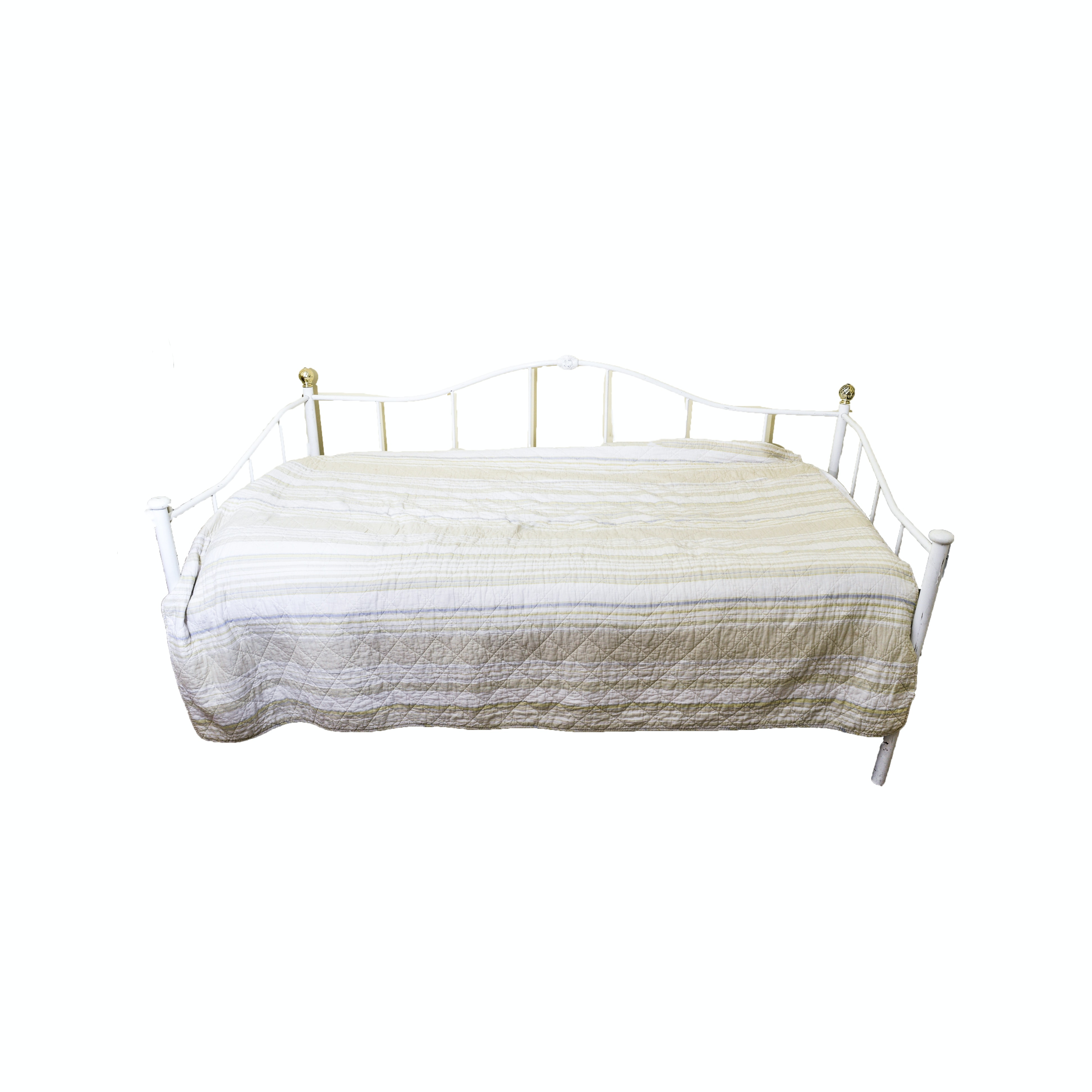 White Metal Day Bed with Trundle