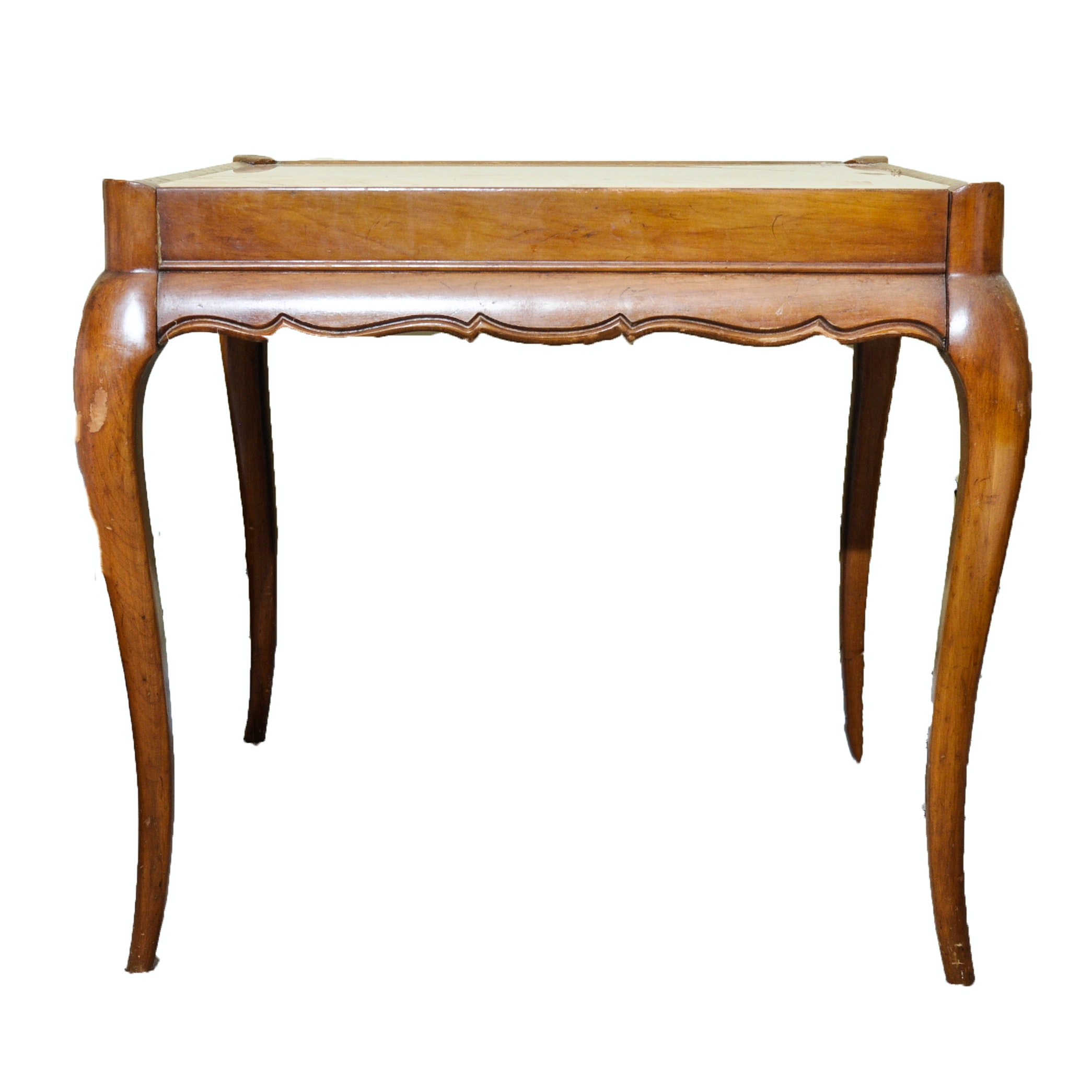 French Provincial Style Cherry End Table With Marble