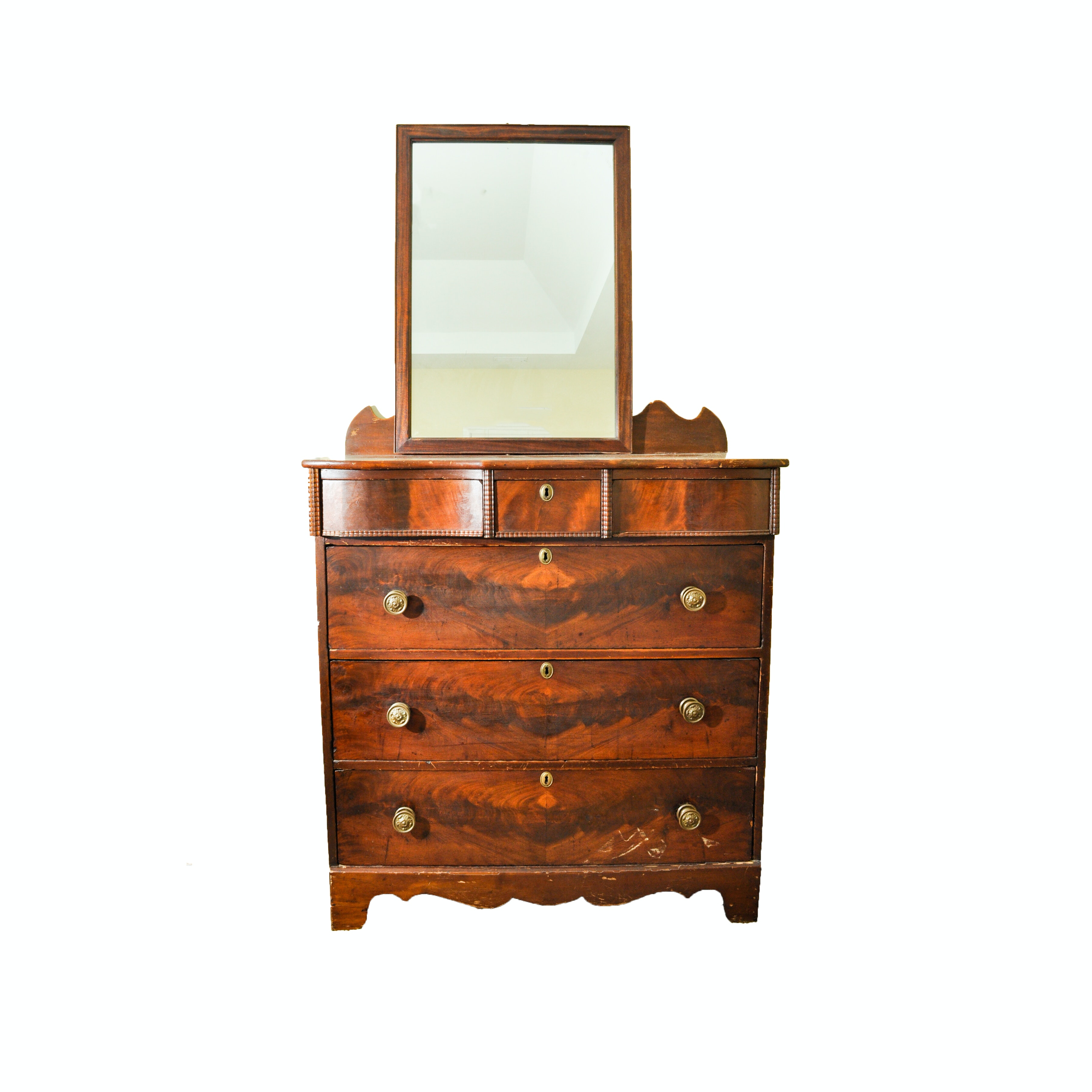 Empire / Early Victorian Chest of Drawers with Later Mirror
