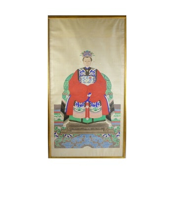 Antique Chinese Ancestor Portrait After the Qing Dynasty