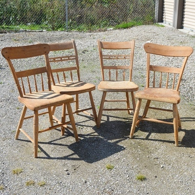 Four Vintage Unfinished Wood Side Chairs