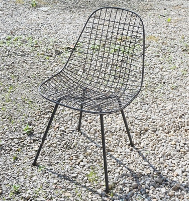Retro Eames Style Black Wire Mesh Chair