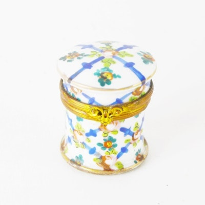 Antique Hand-Painted Porcelain Inkwell