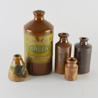 Arnold's Green Writing Ink Stoneware Bottle and Other Stoneware Ink Bottles