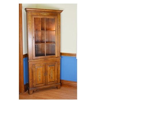 Hitchcock Style Maple Corner Cabinet ...