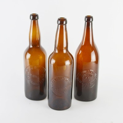 Antique Amber Beer Bottles