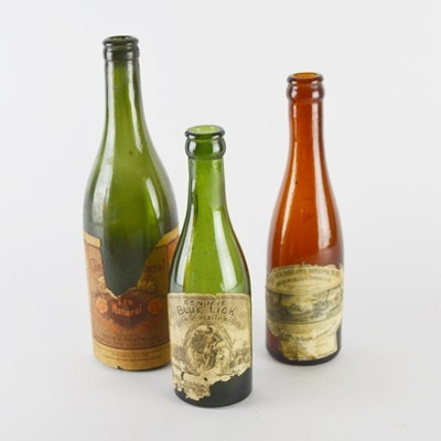 Antique Glass Bottles With Labels