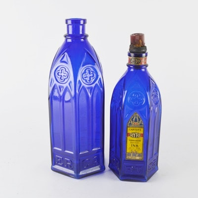 Carter's Cobalt Blue Cathedral Style Glass Bottles