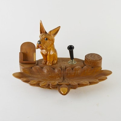 Dog Figural Wood Inkwell and Desk Stand After Black Forest Designs