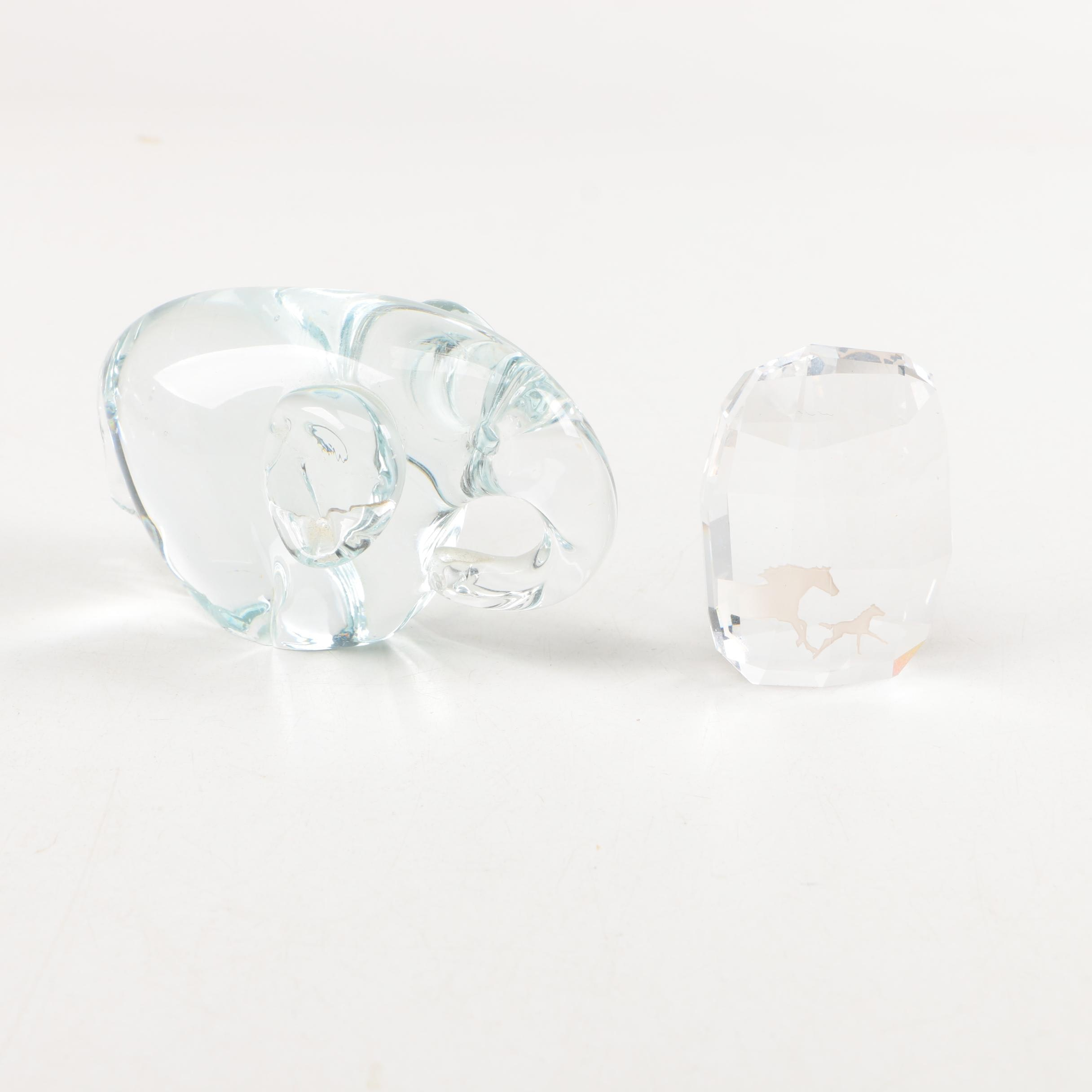 Crystal Elephant Figurine and Horse Paperweight