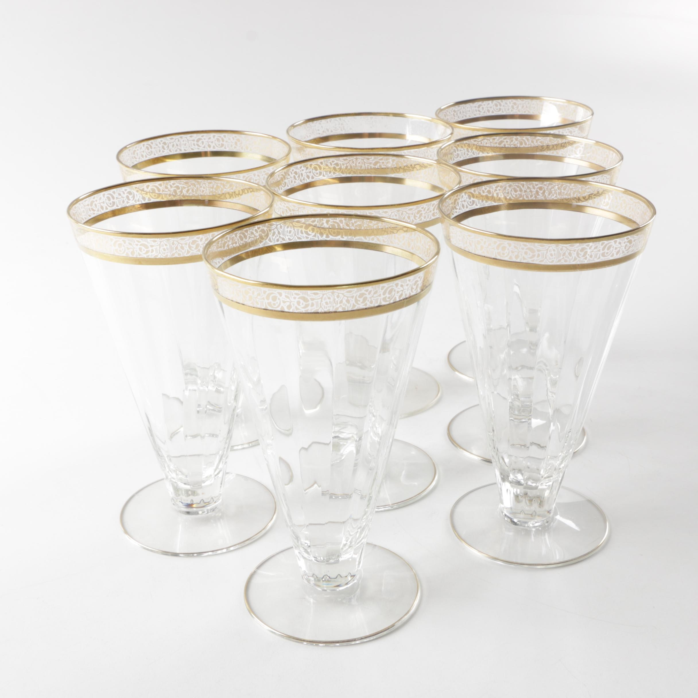 Vintage Gold Encrusted Iced Beverage Glasses in the style of Tiffin-Franciscan