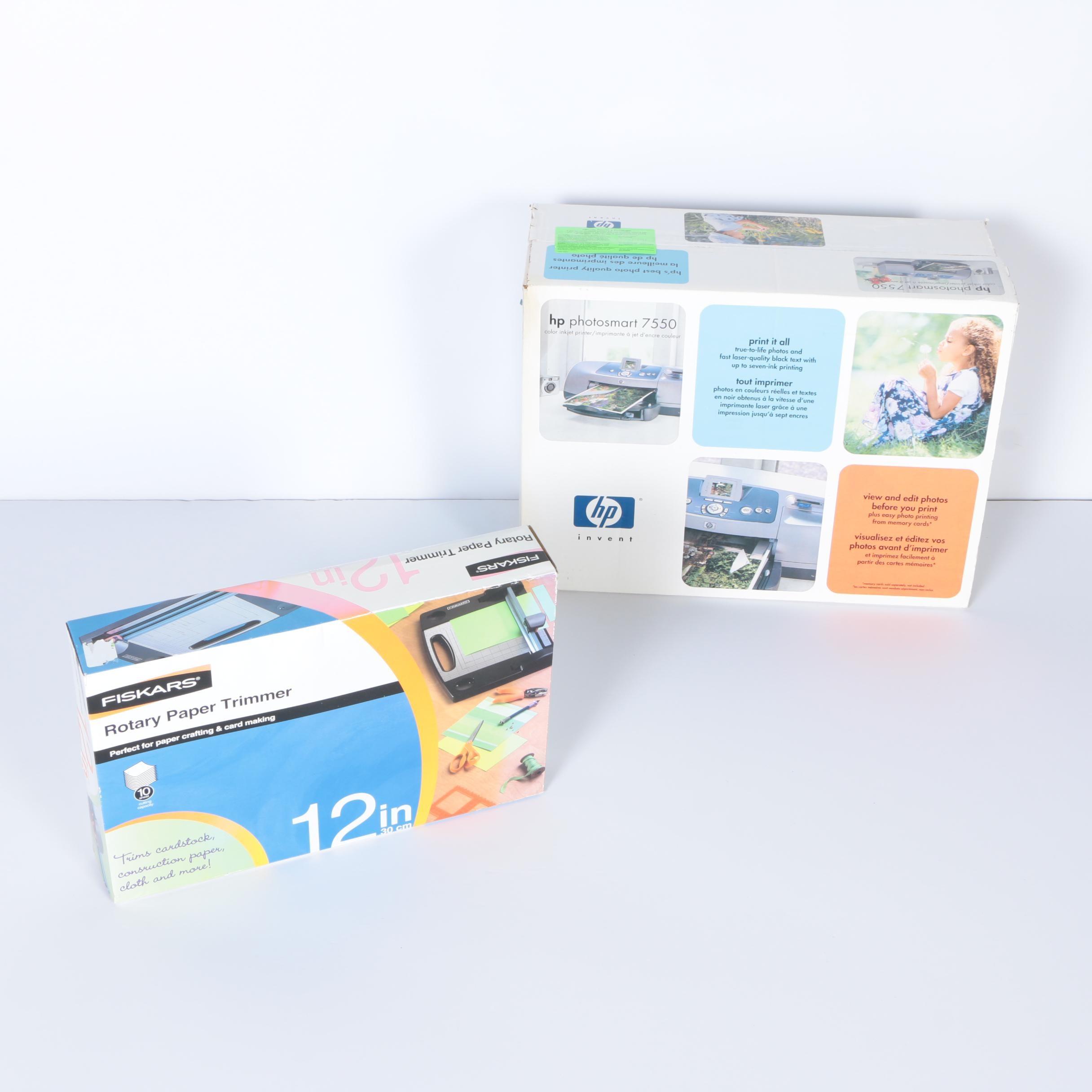 Fiskars Rotary Paper Trimmer and HP Color Inkjet Printer
