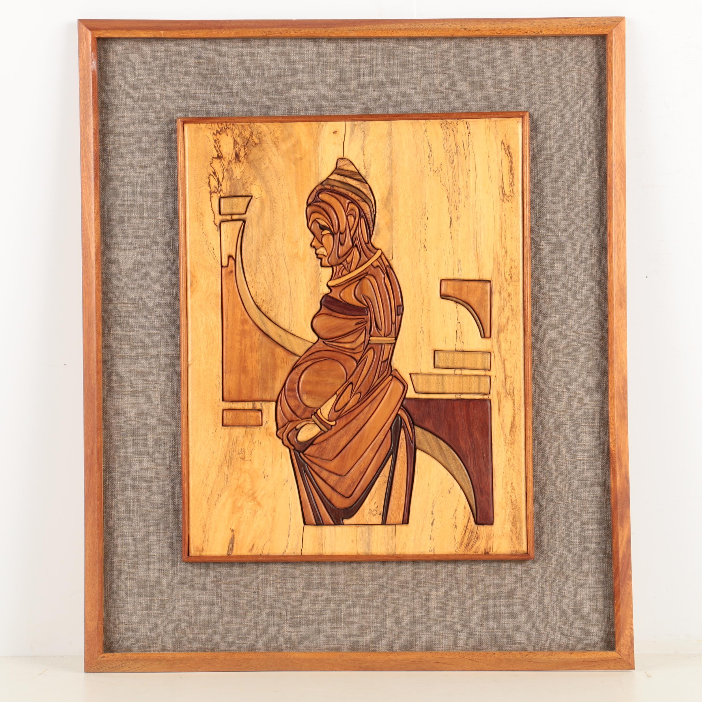 Wood Inlay Mosaic Carving  Portrait of a Woman