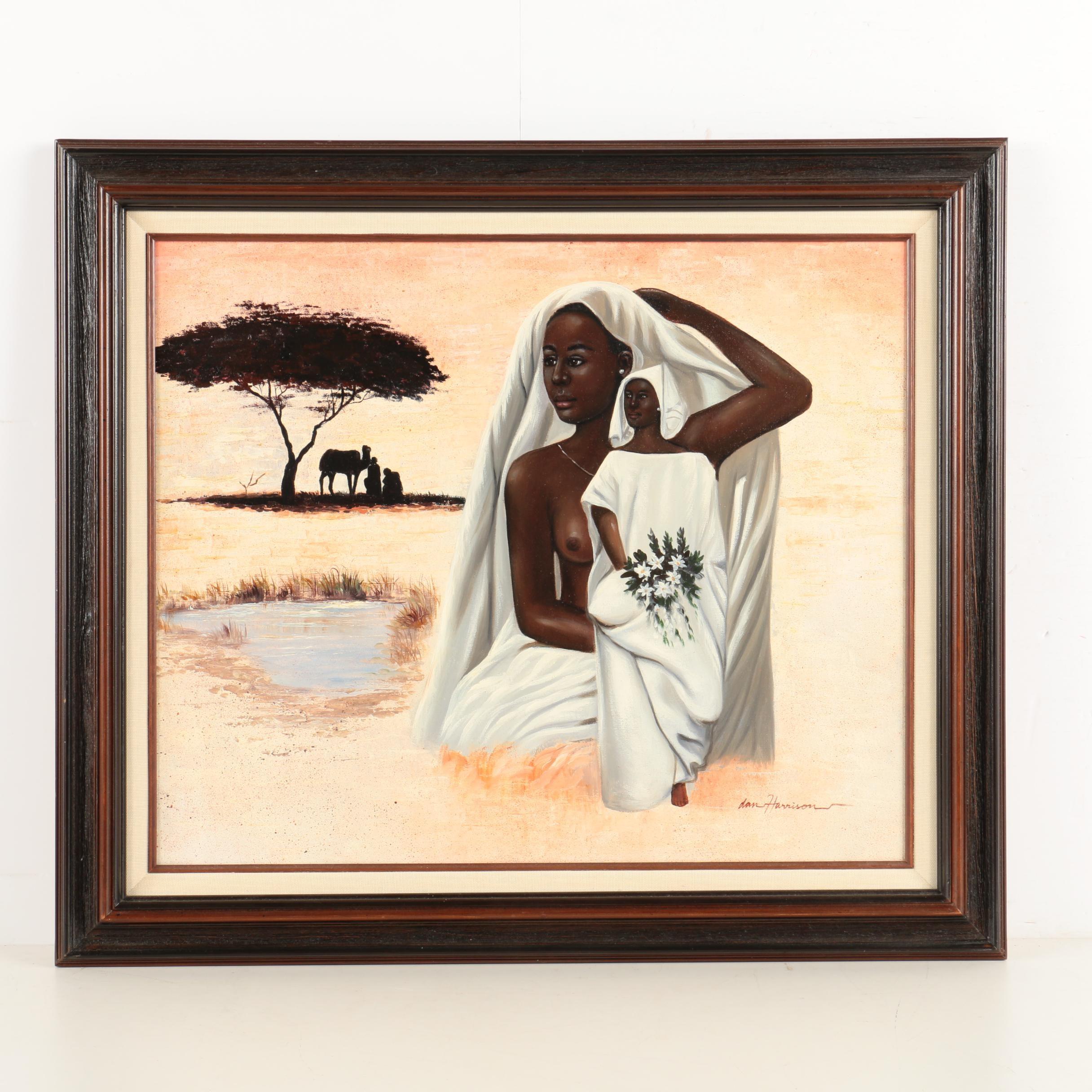 Dan Harrison Oil On Canvas Painting of a Women in a Desert Setting