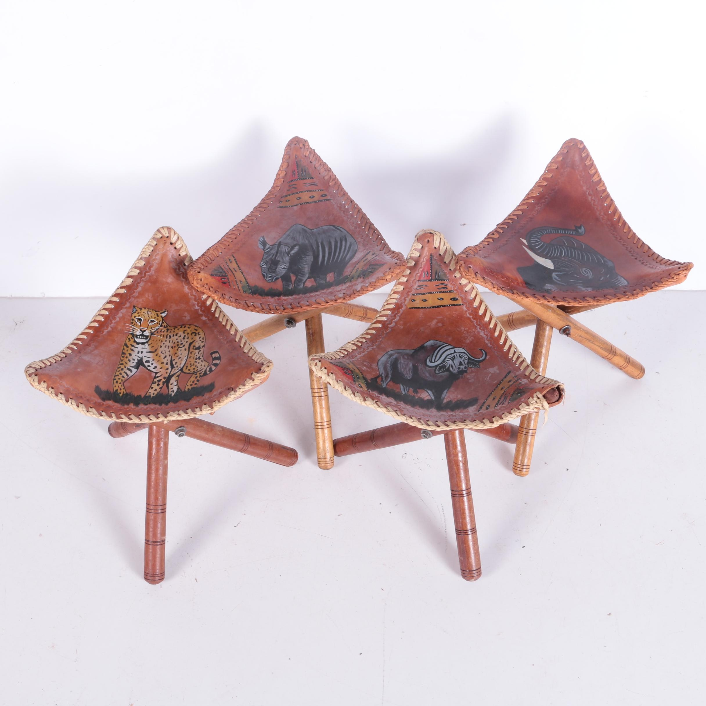 """African Big Five"" Leather Triangular Stools, Set of Four"