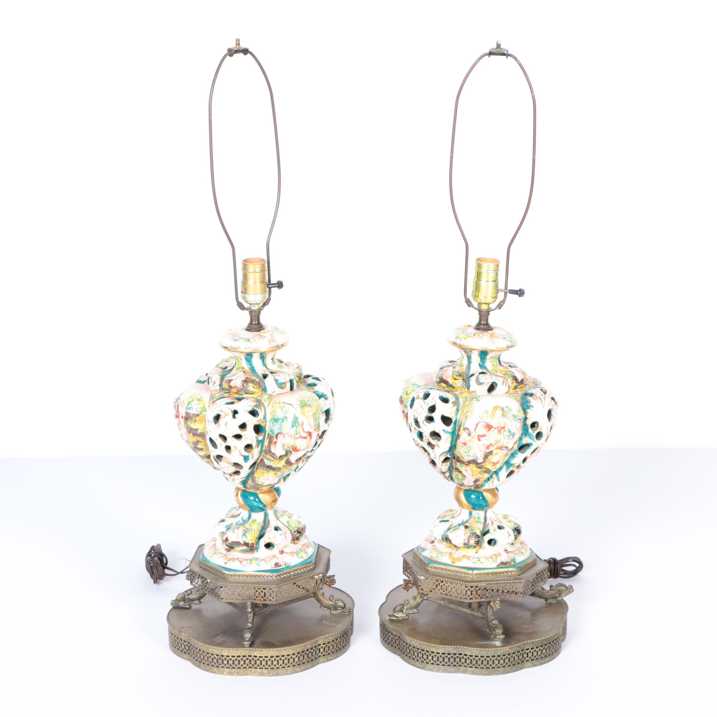 Vintage Capodimonte Style Porcelain Table Lamps