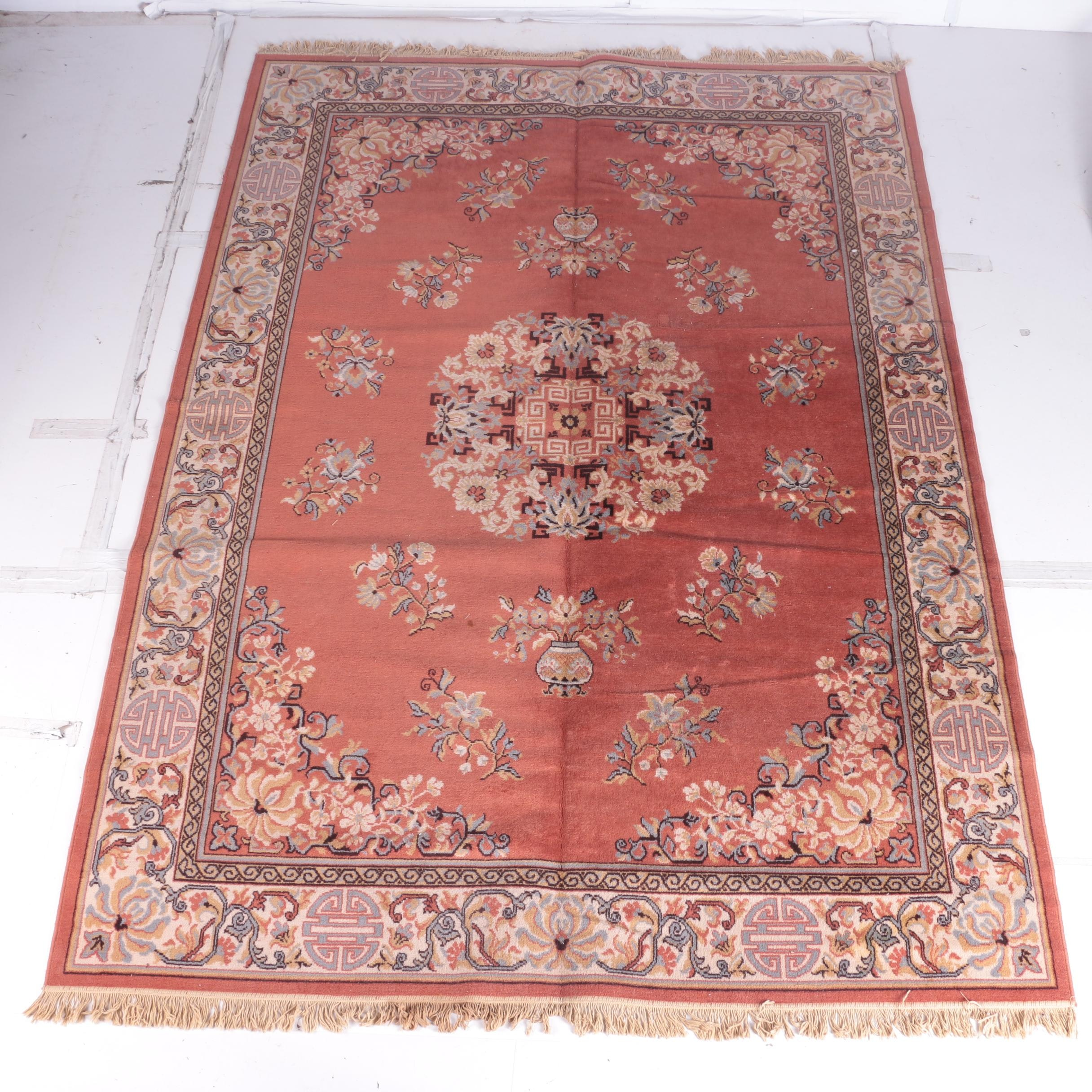 "Power-Loomed ""Kashan"" Chinese-Style Wool Area Rug"
