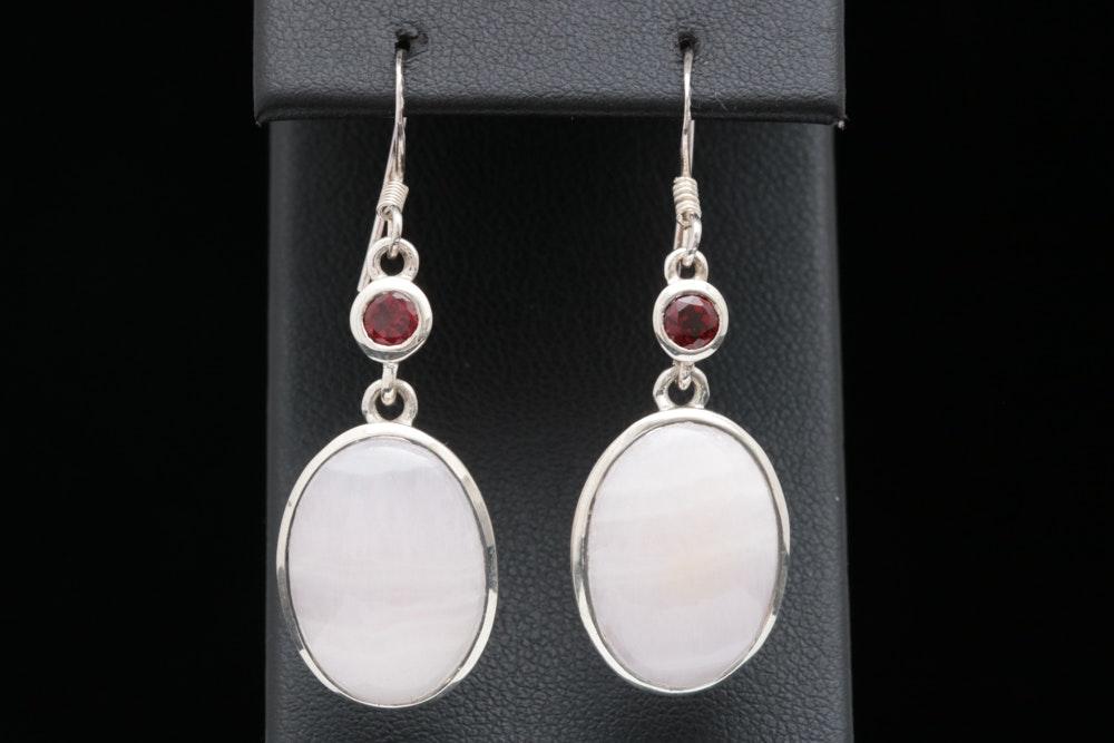 Sterling Silver, Rose Quartz and Garnet Dangle Earrings